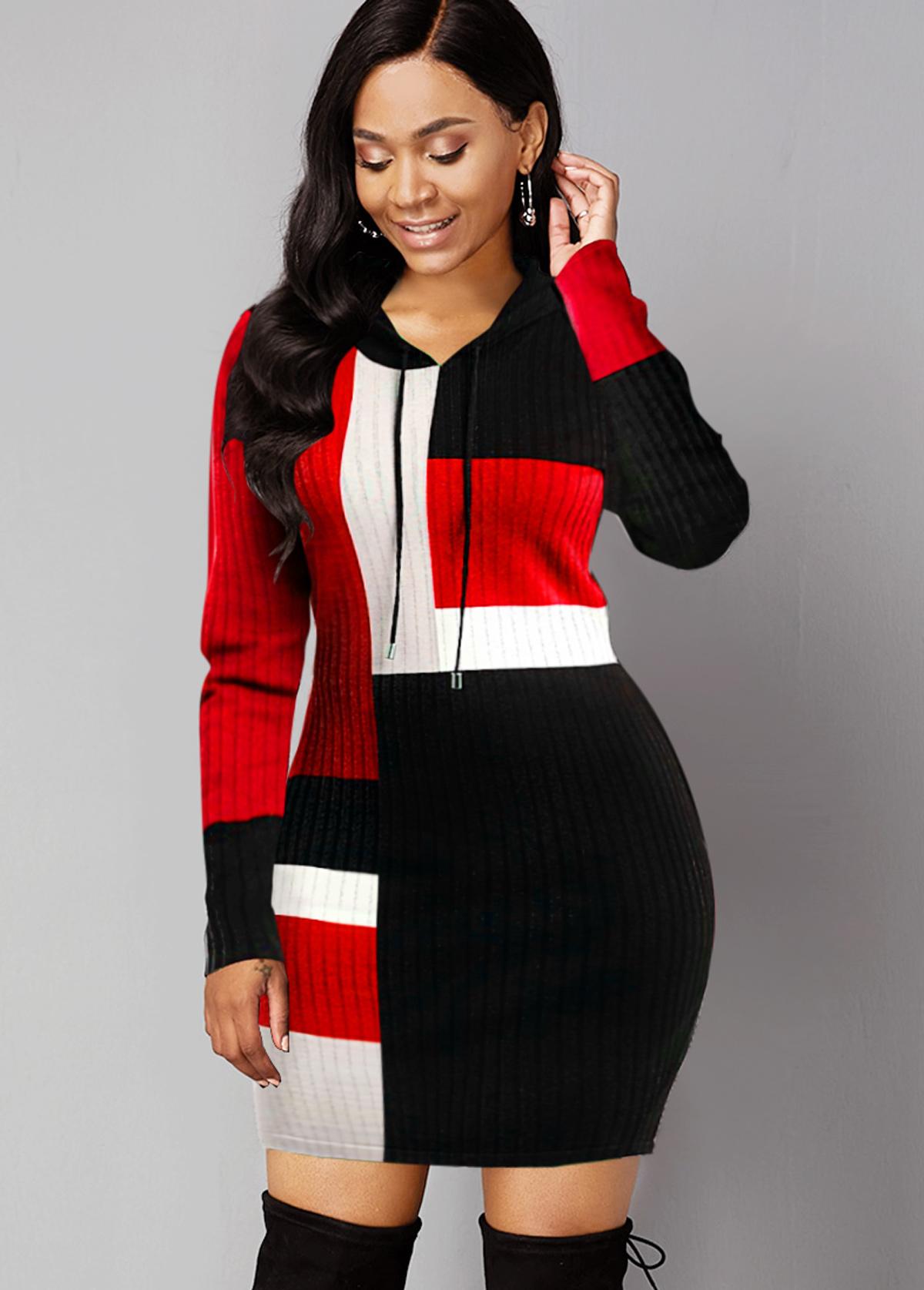 ROTITA Long Sleeve Hooded Collar Contrast Sweater Dress