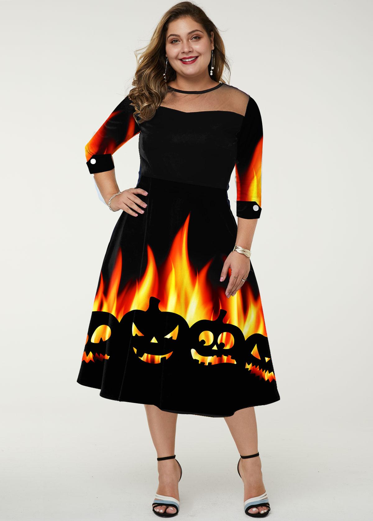 ROTITA Plus Size Mesh Panel Halloween Print Dress