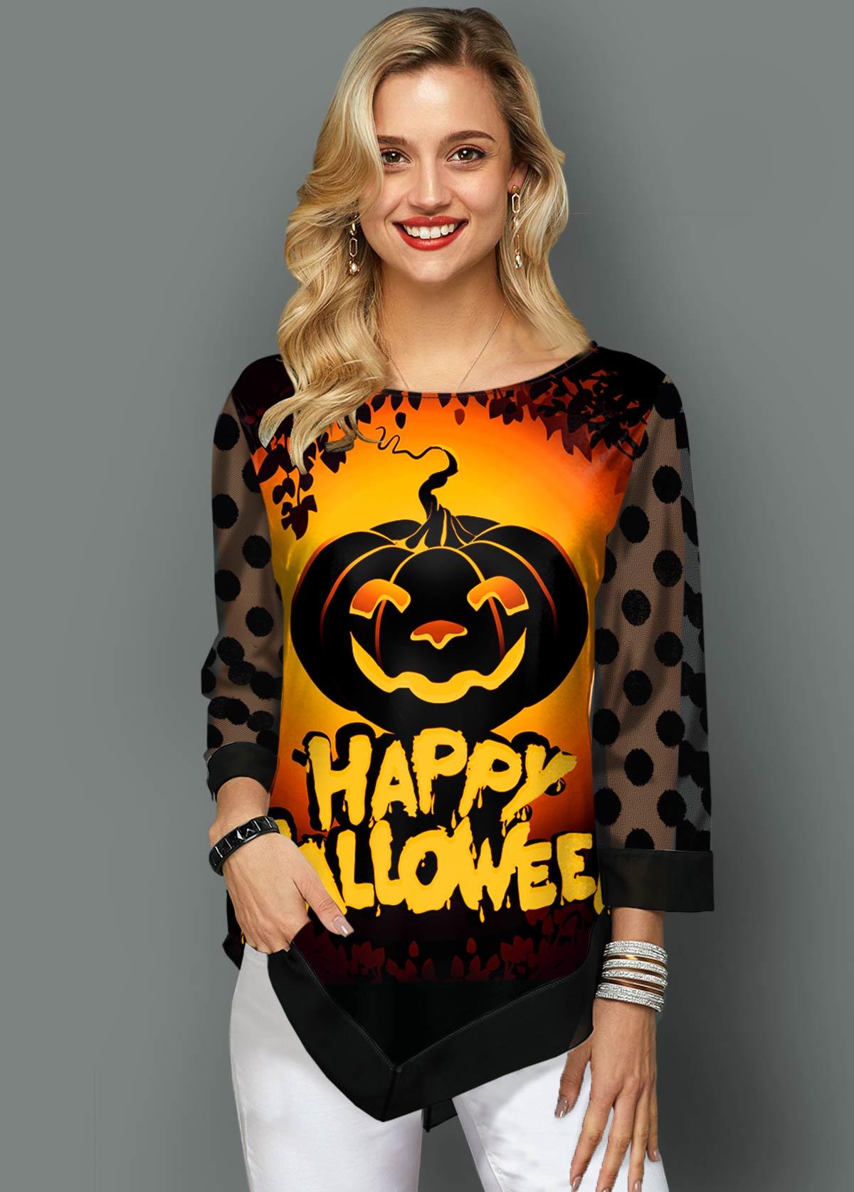 ROTITA Halloween Print Dot Mesh Panel T Shirt