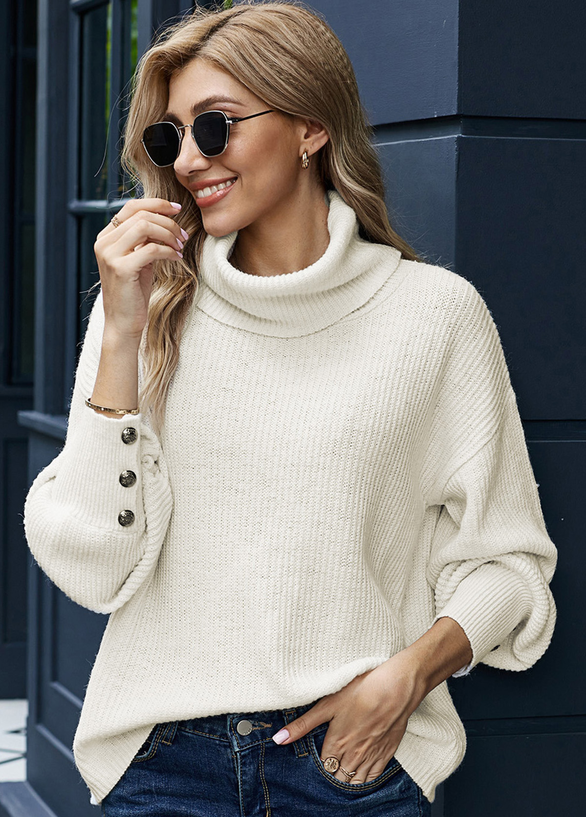Long Sleeve Turndown Collar Button Sweater