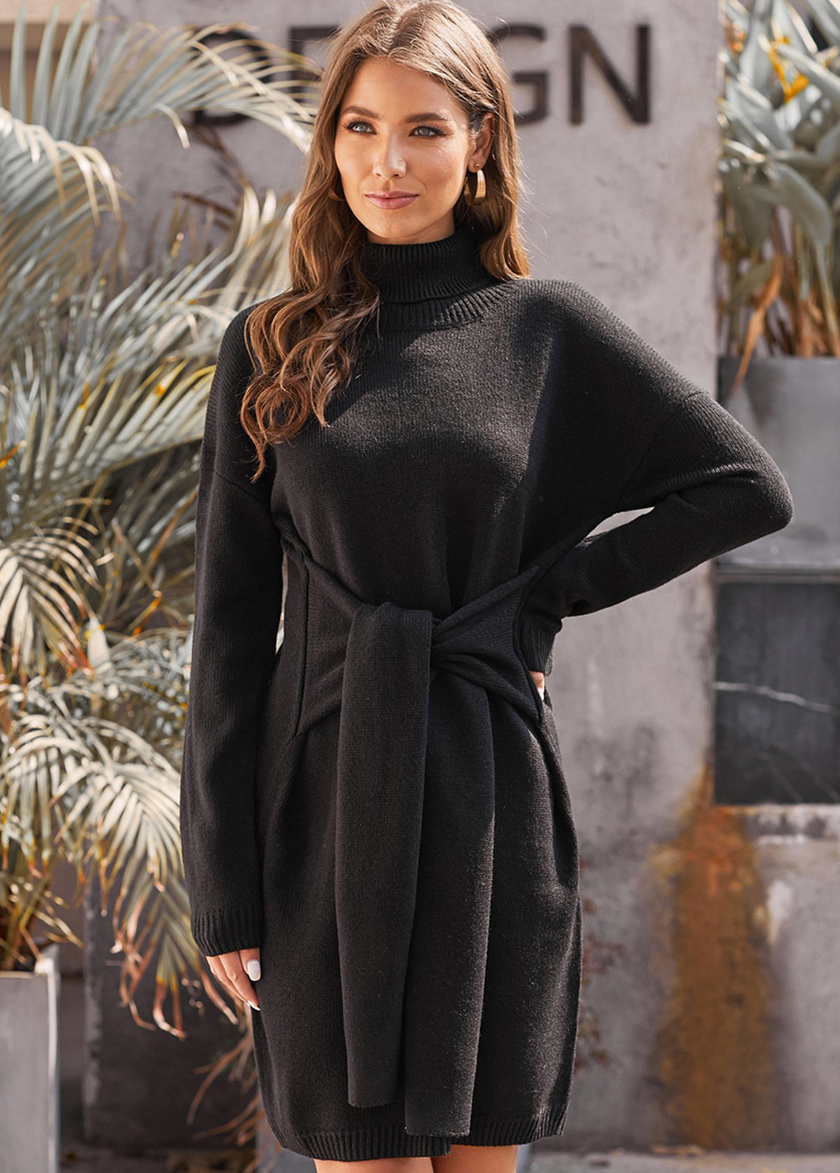 Turtleneck Long Sleeve Tie Waist Sweater Dress