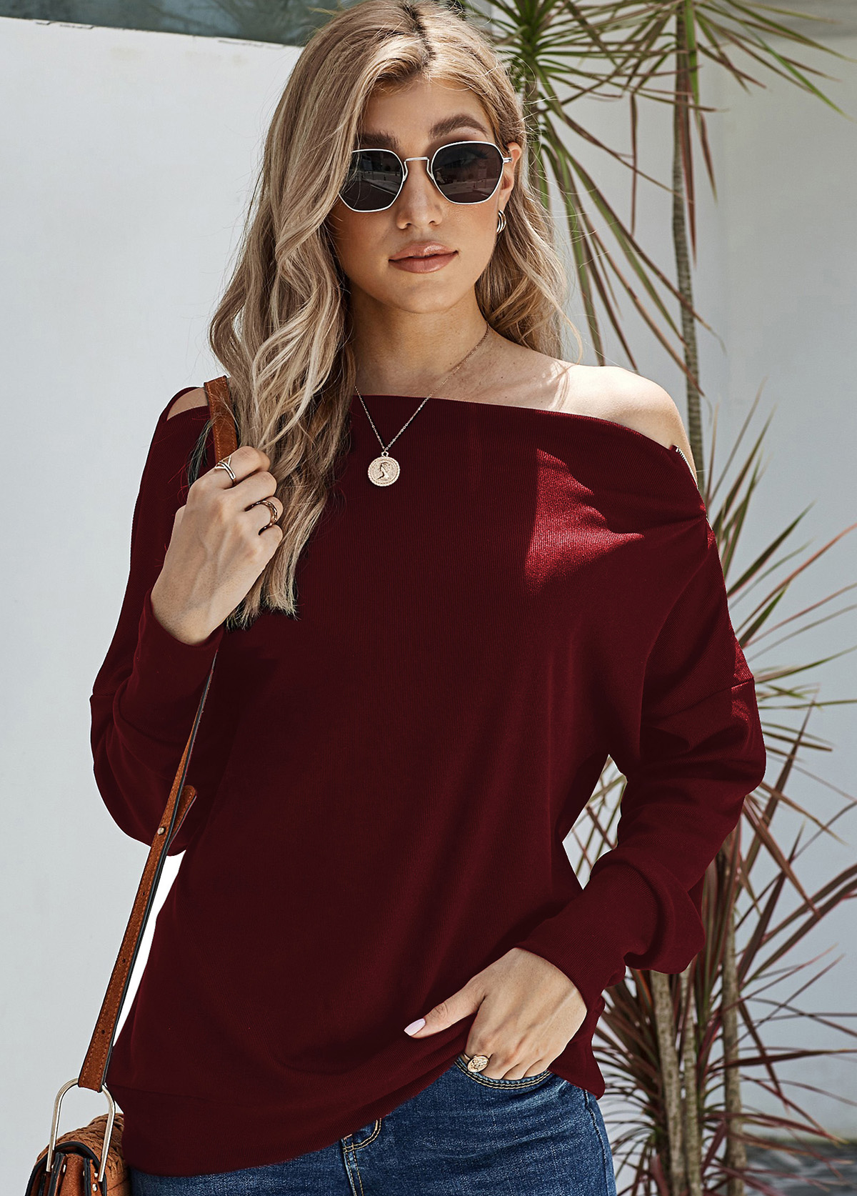 Zipper Detail Long Sleeve Skew Neck Sweater