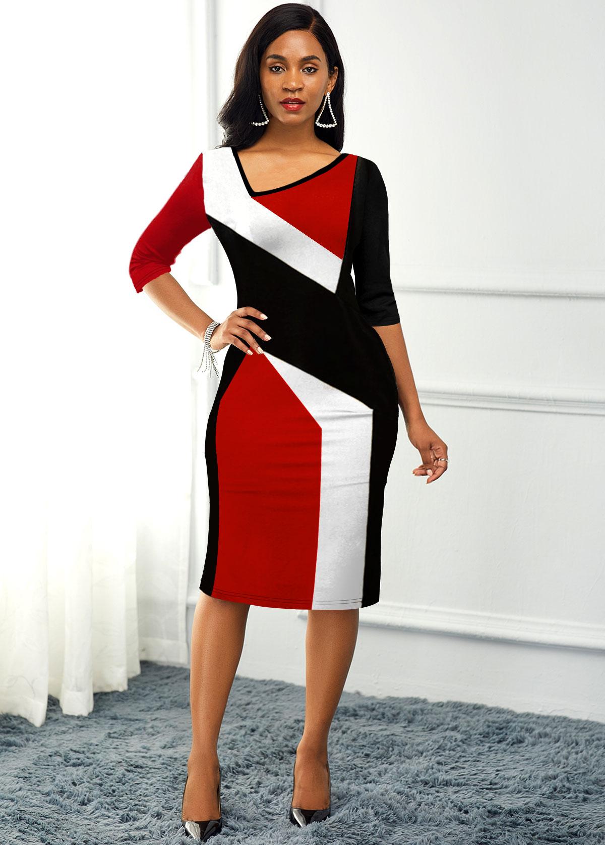 ROTITA Back Slit Asymmetric Neck Color Block Dress
