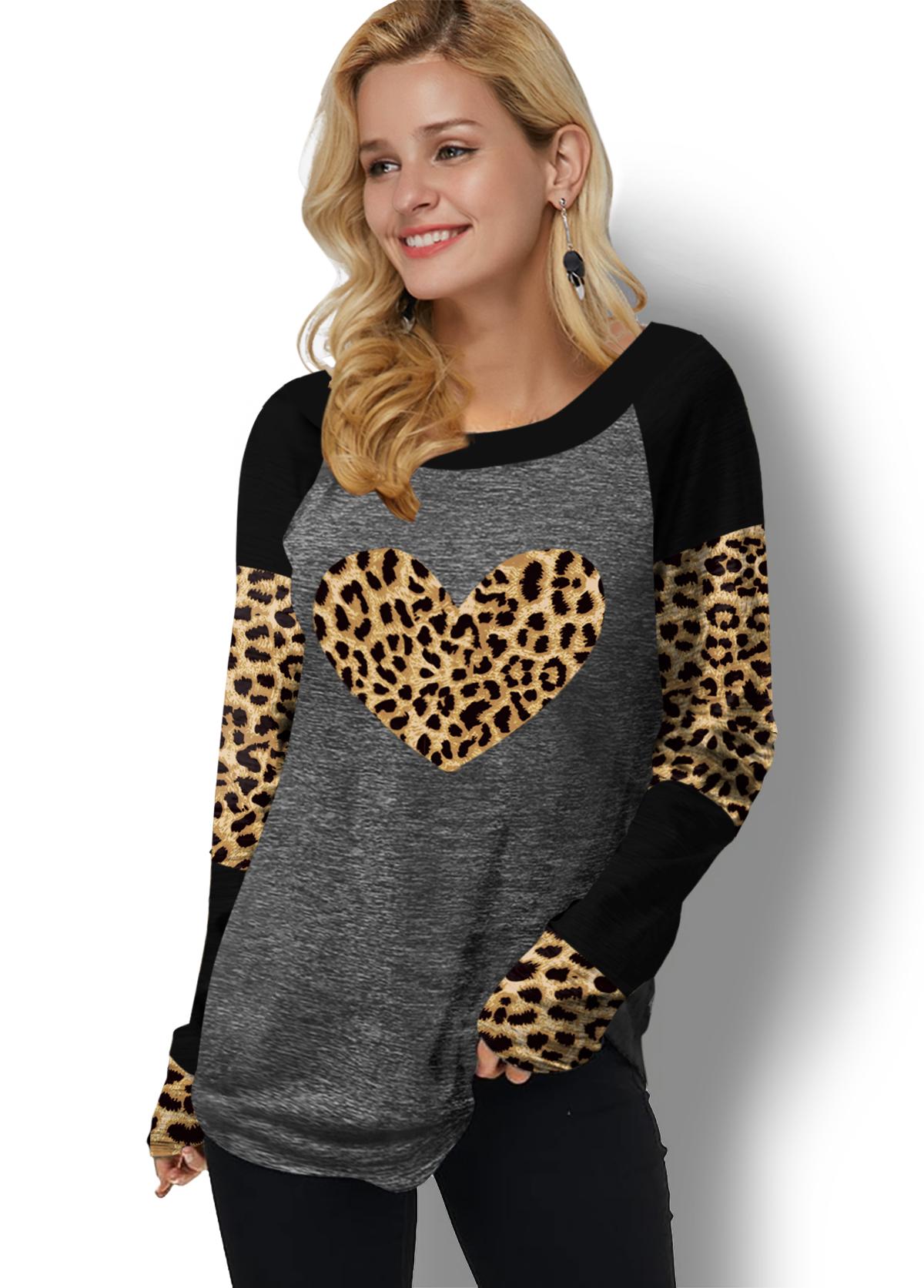ROTITA Contrast Long Sleeve Leopard Print T Shirt