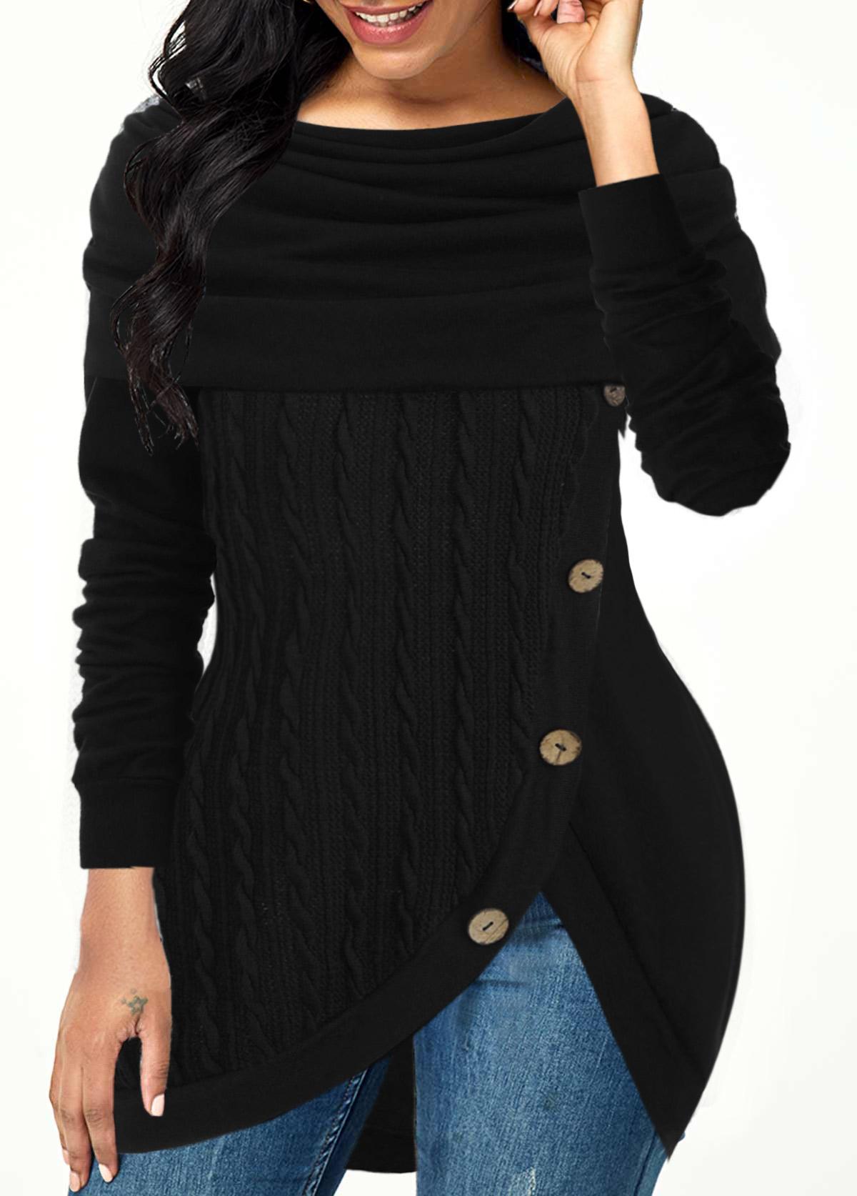 ROTITA Inclined Button Tulip Hem Cowl Neck Sweater