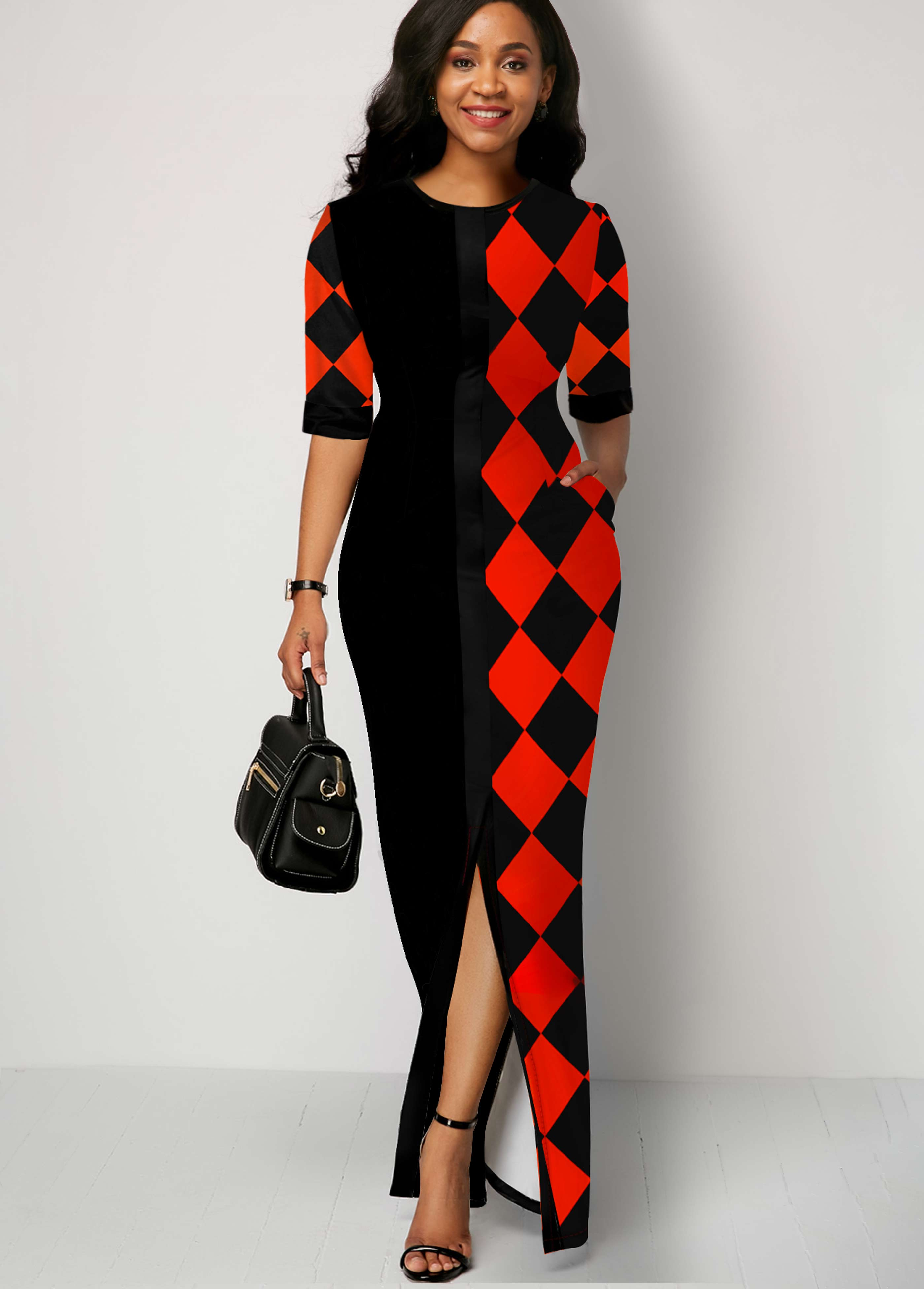 ROTITA Front Slit Pocket Plaid Print Maxi Dress