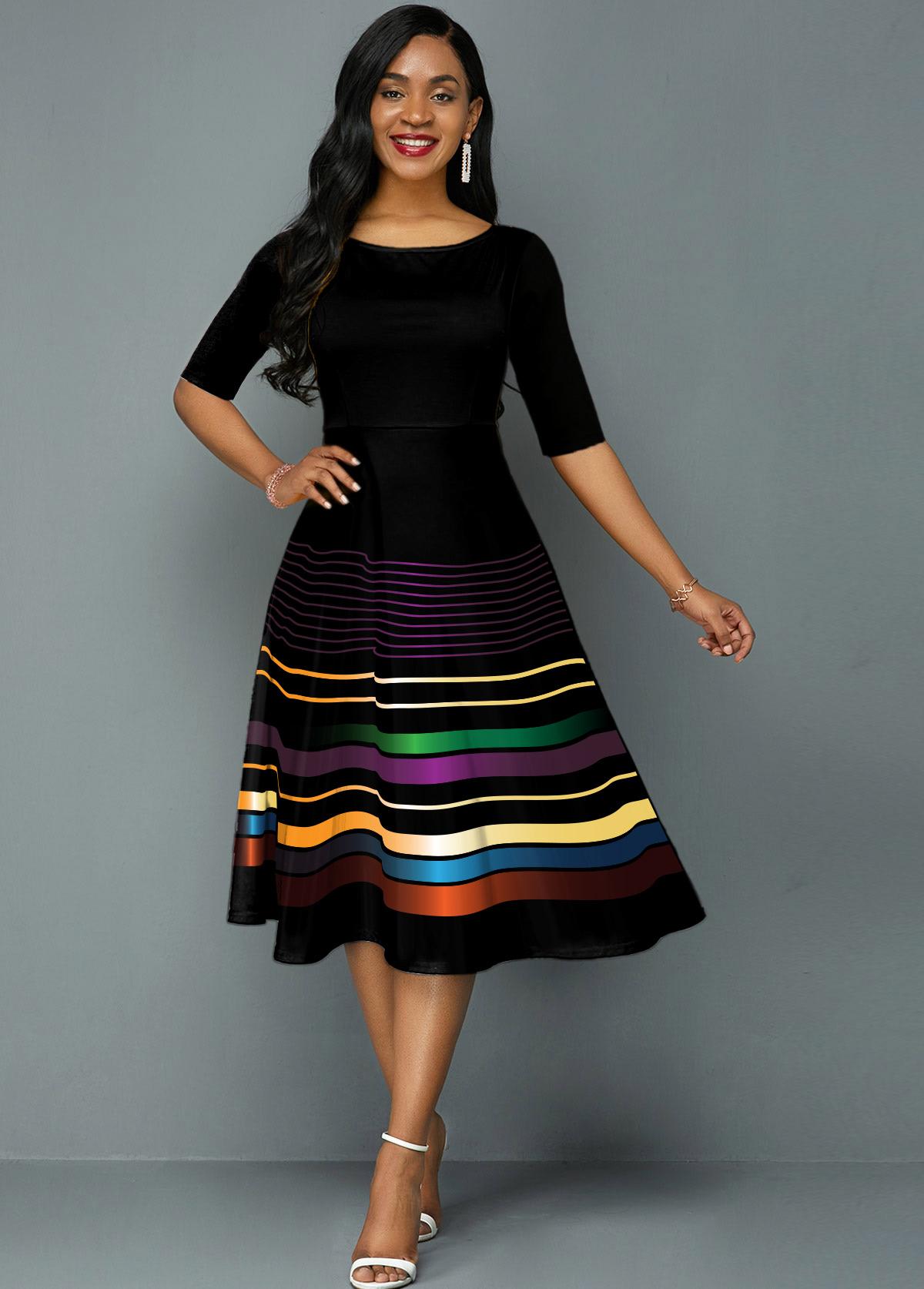 ROTITA Rainbow Stripe Half Sleeve A Line Dress