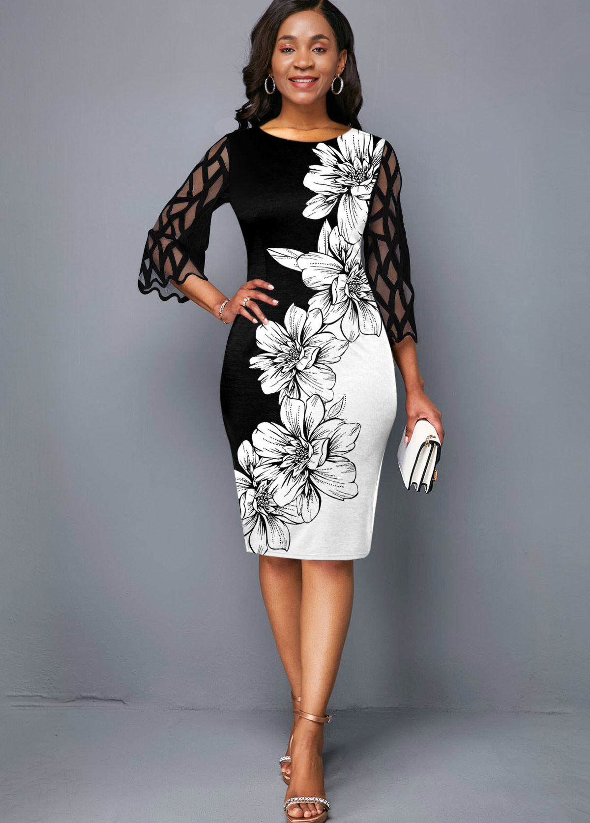 ROTITA Mesh Panel Round Neck Floral Print Dress
