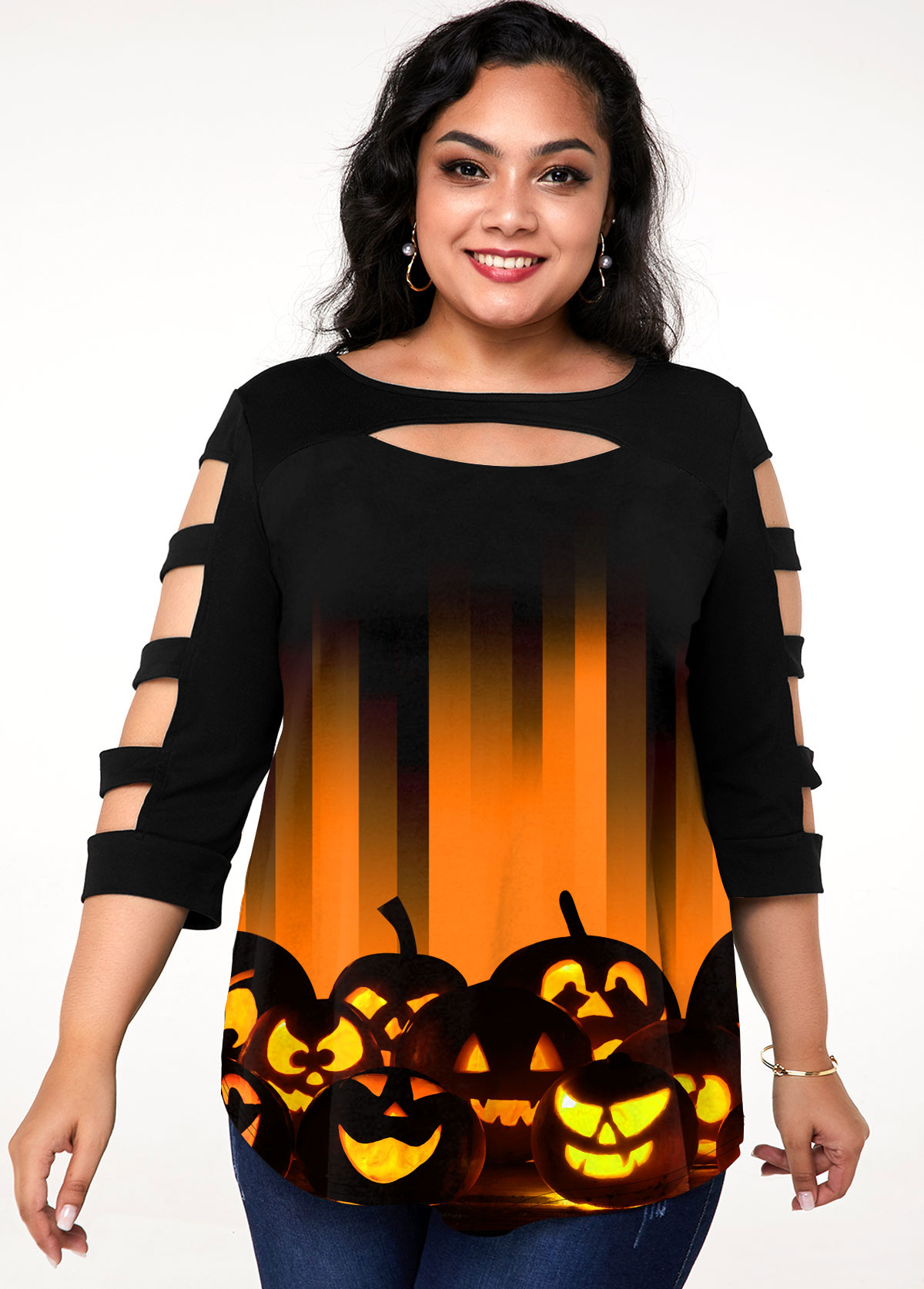 ROTITA Plus Size Ladder Cutout Halloween Print T Shirt