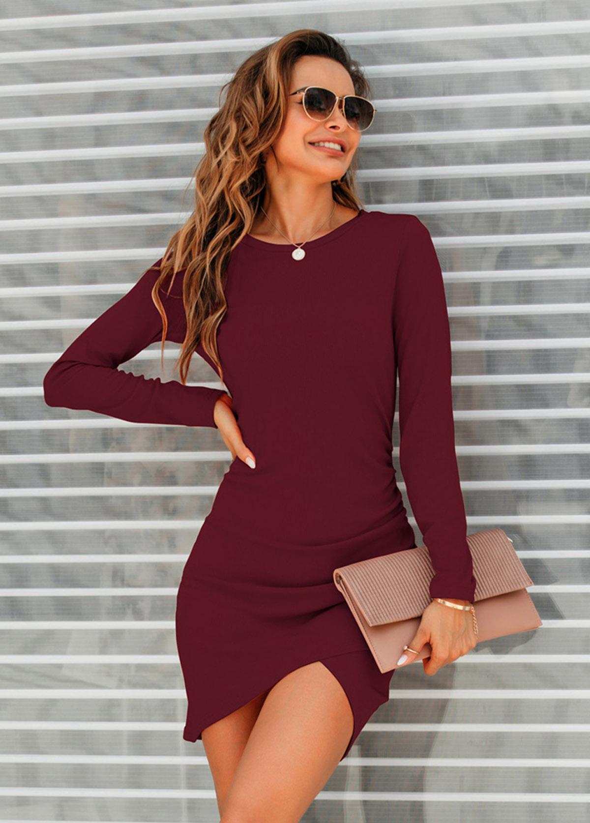 Round Neck Long Sleeve Asymmetric Hem Dress