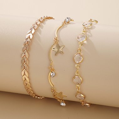 Gold Metal Starfish Arrow Design Bracelet Set