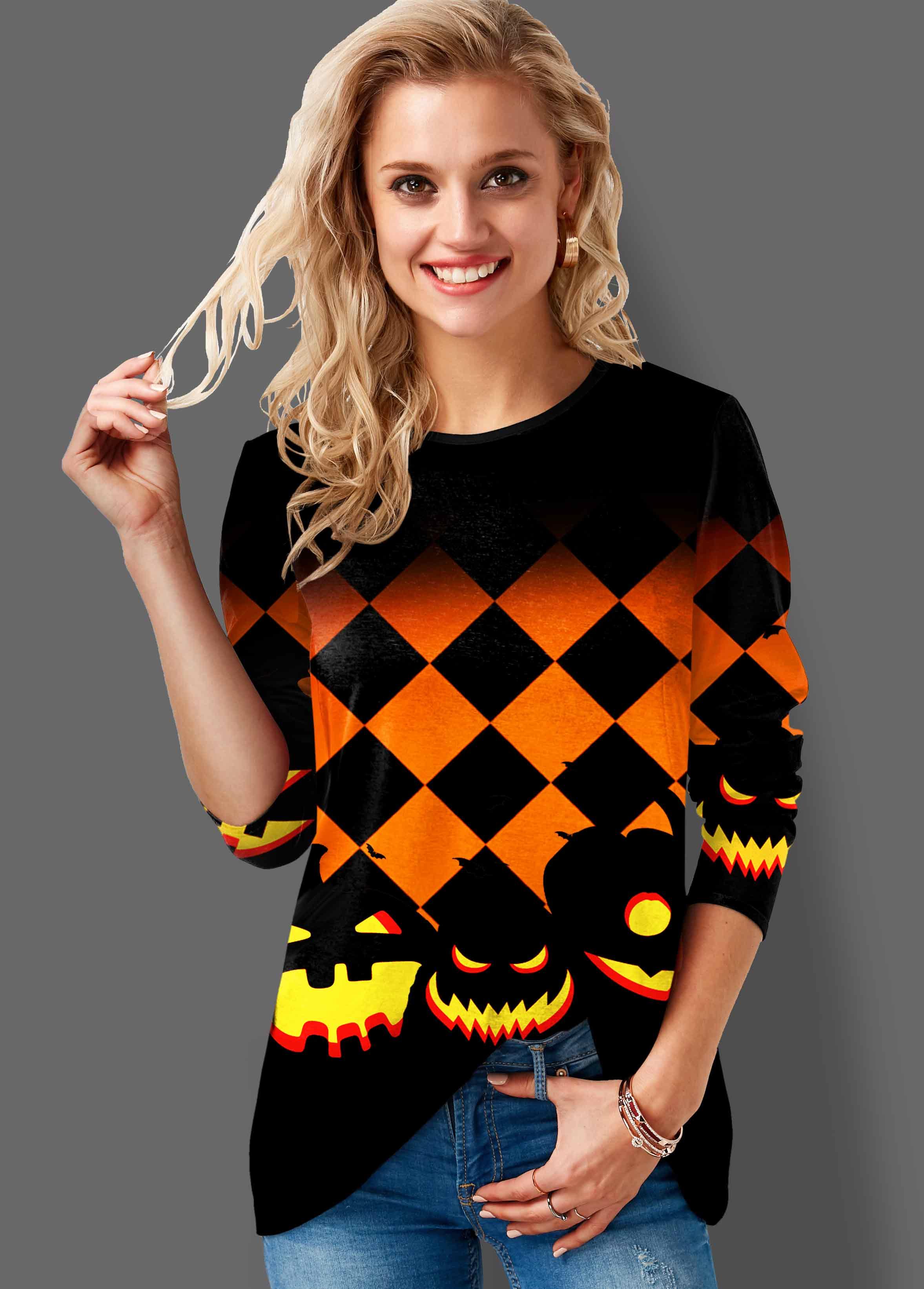 ROTITA Halloween Print Long Sleeve Round Neck Sweatshirt