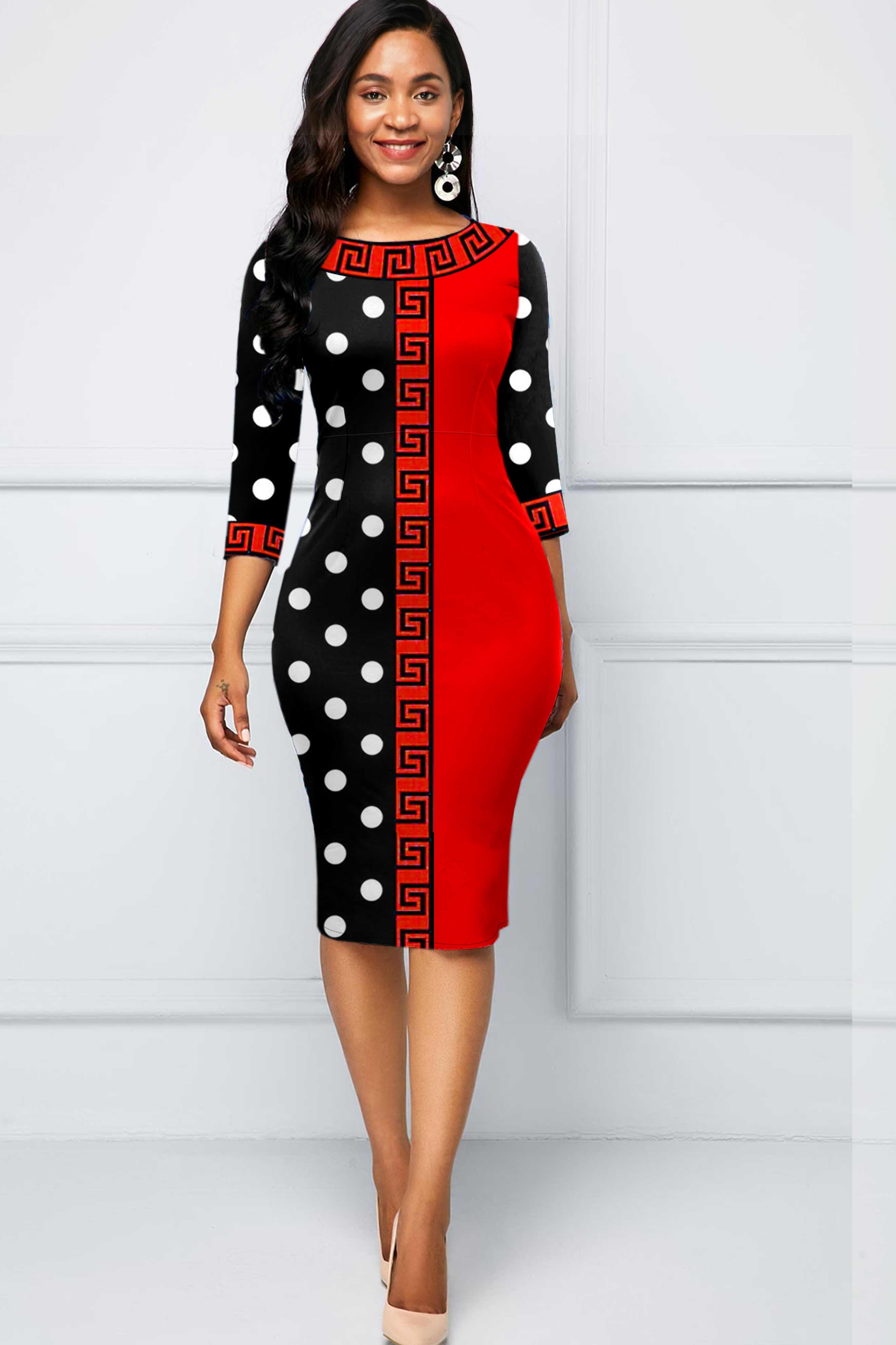 ROTITA Halloween Polka Dot and Tribal Print Dress