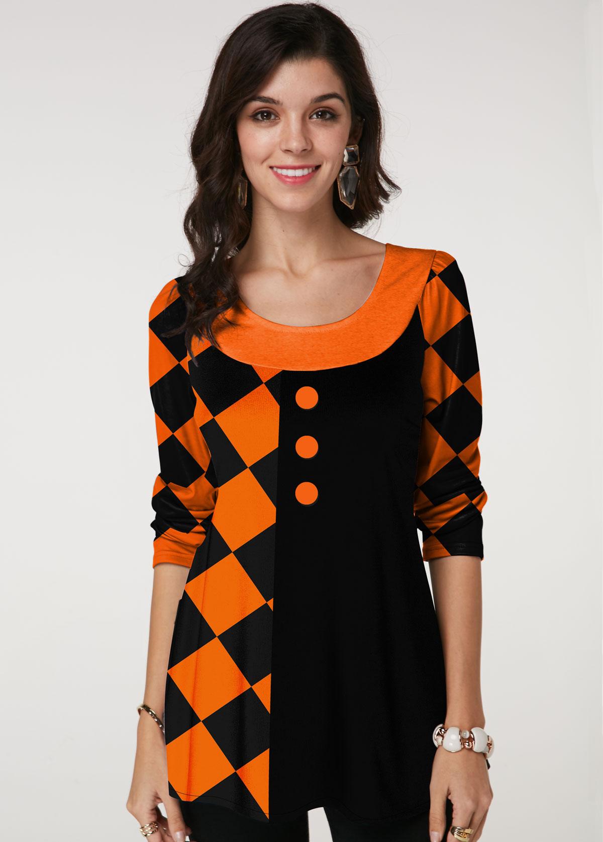 ROTITA Round Neck Long Sleeve Halloween Print T Shirt