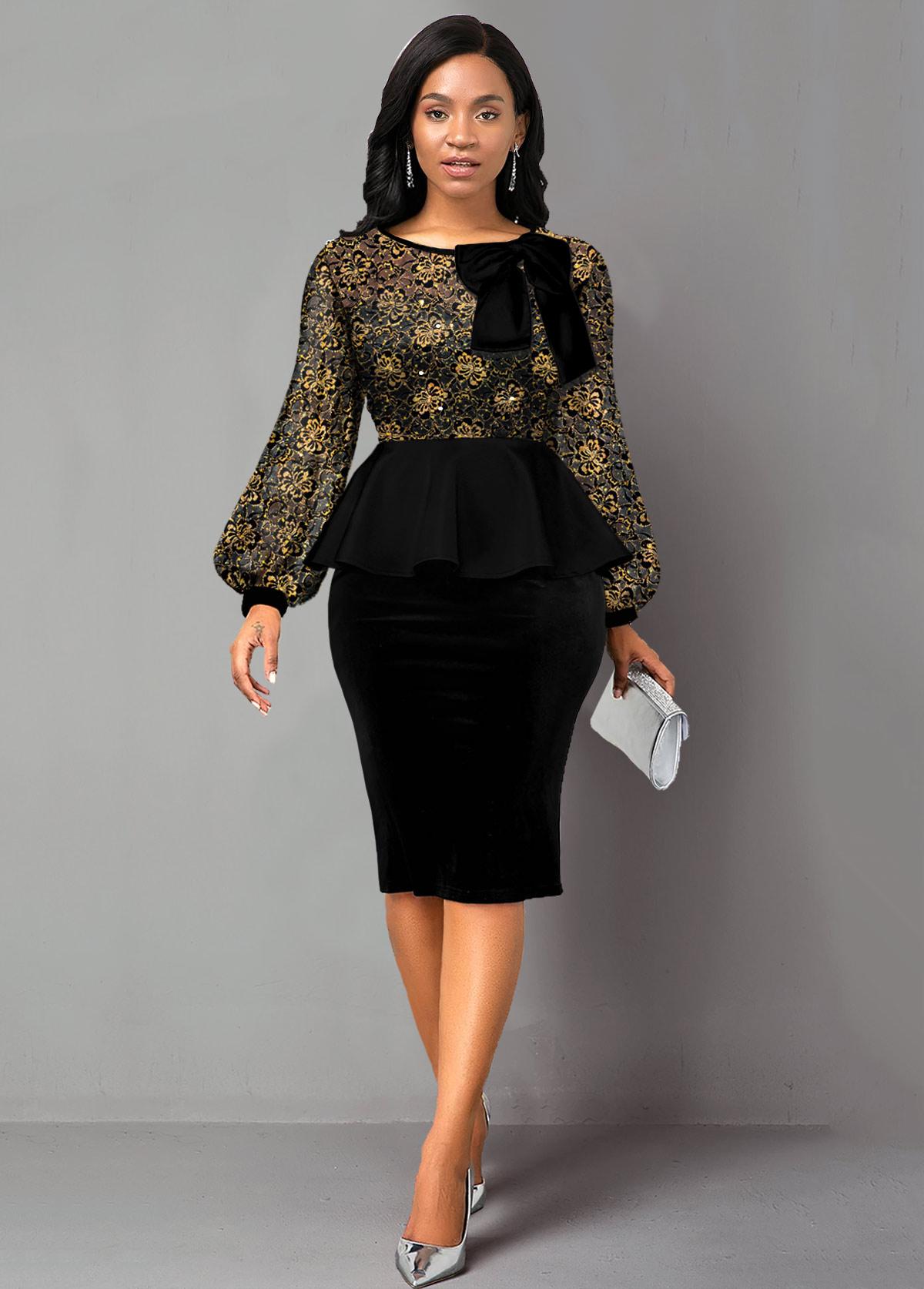 ROTITA Sequin Lace Panel Peplum Waist Bowknot Dress