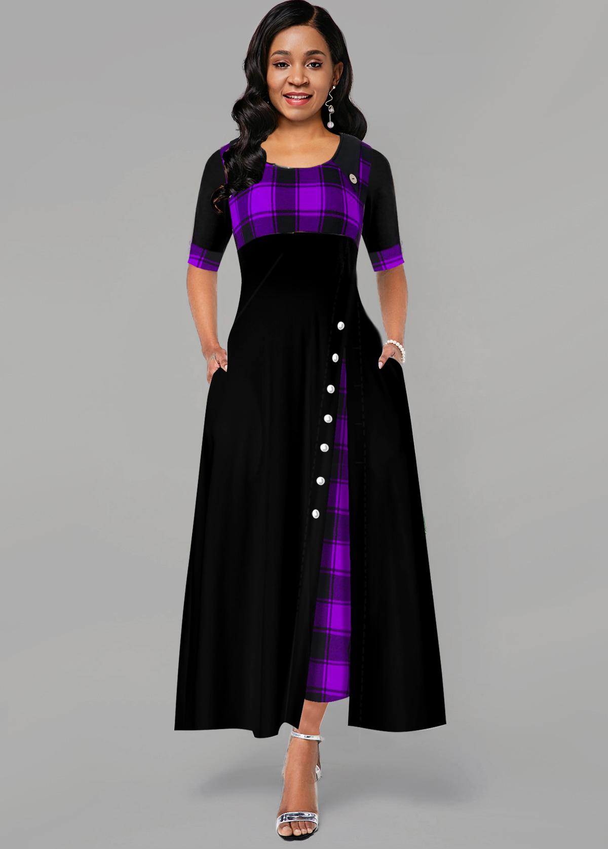 ROTITA Inclined Button Plaid Print Pocket Maxi Dress