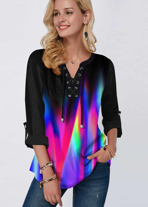 ROTITA Rainbow Color Printed Roll Tab Sleeve Blouse