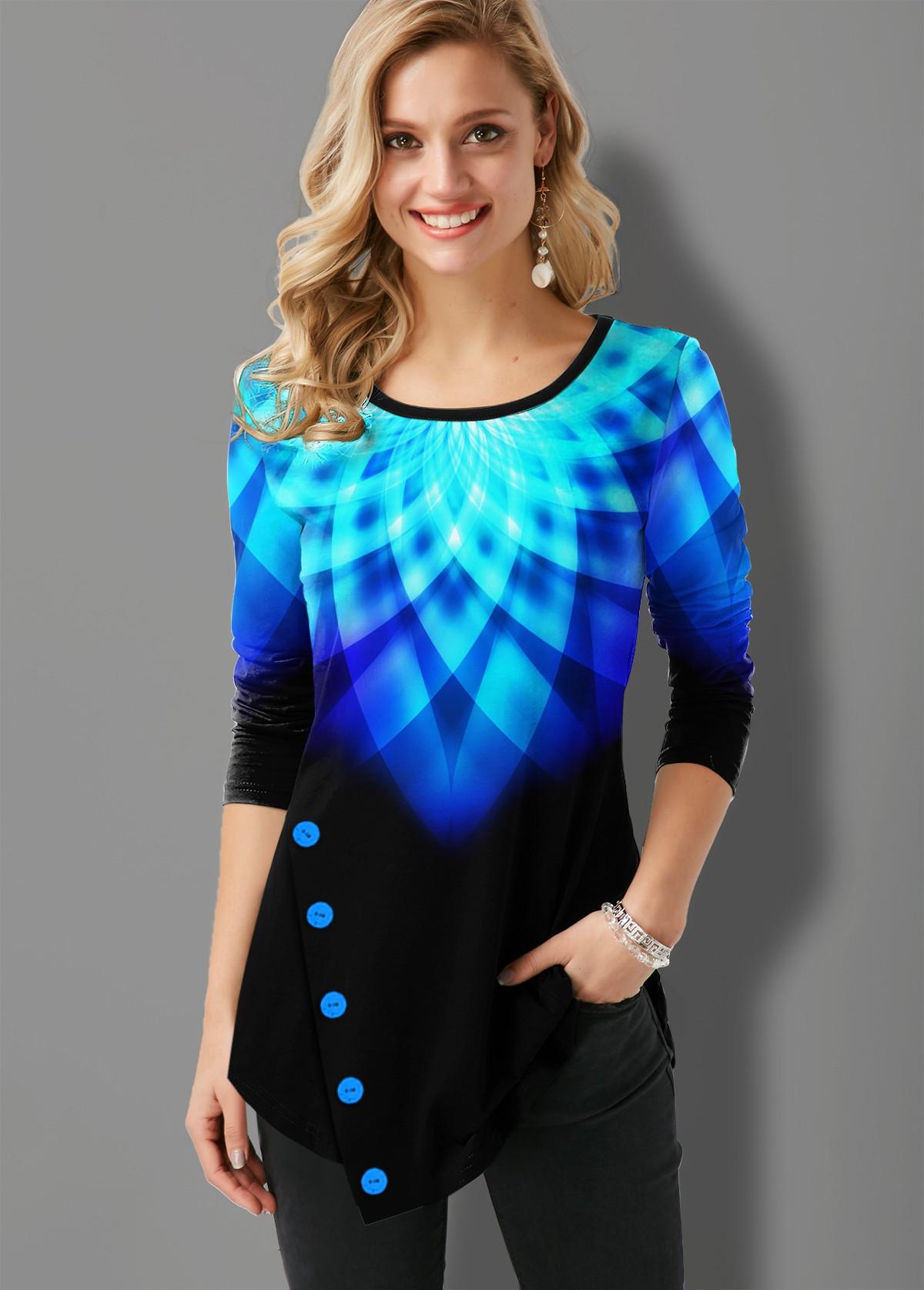 ROTITA Inclined Button Asymmetric Hem Printed Ombre T Shirt
