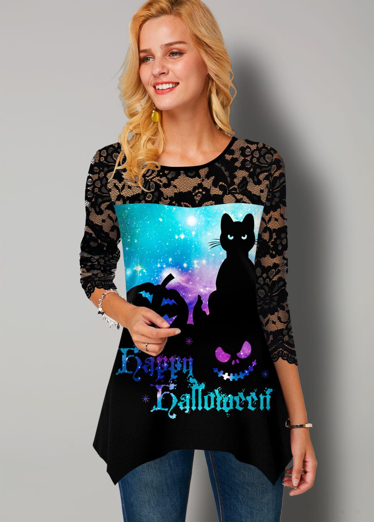 ROTITA Halloween Starry Night Print T Shirt