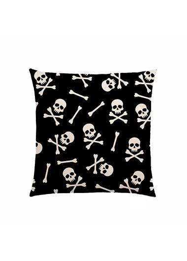 1pc 45 X 45cm Halloween Skeleton Print Black Pillow