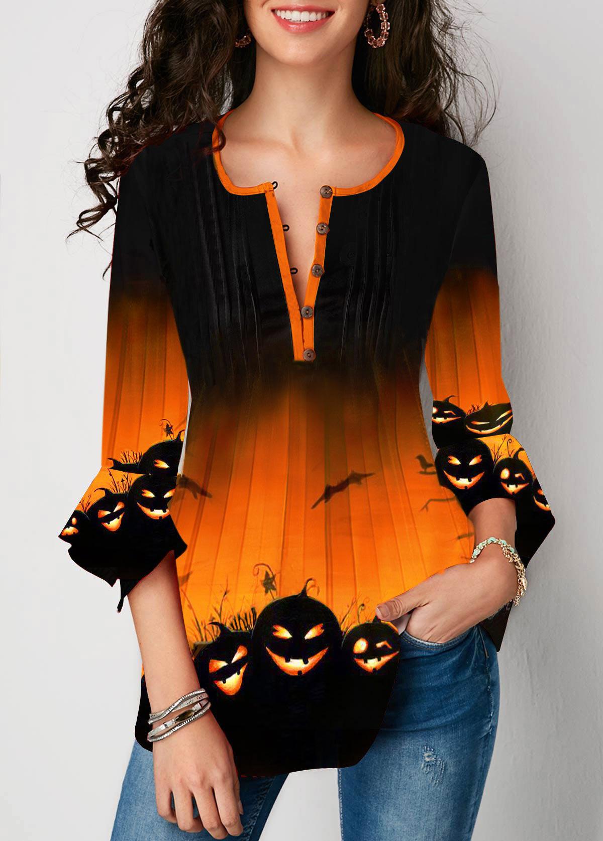 ROTITA Flare Cuff Halloween Pumpkin Print Button Front Blouse