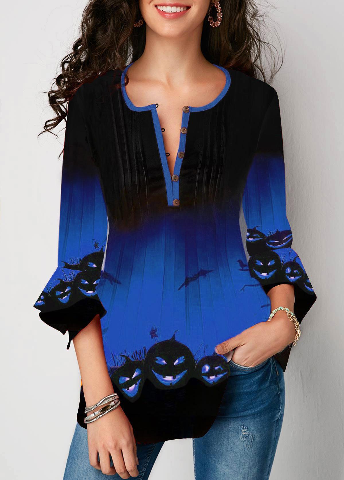 ROTITA Button Front Flare Sleeve Halloween Print Blouse