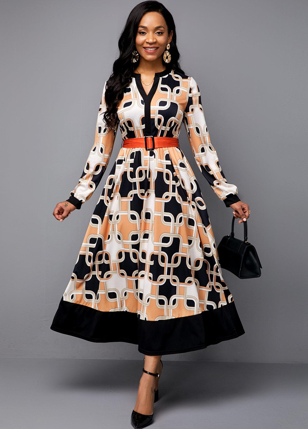 ROTITA Symmetric Print Split Neck Buckle Belted Maxi Dress
