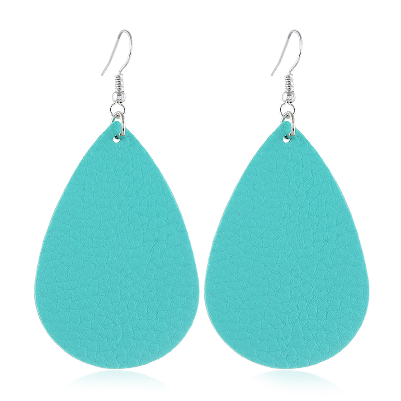 Teardrop Shaped Sky Blue Drop Earrings Set