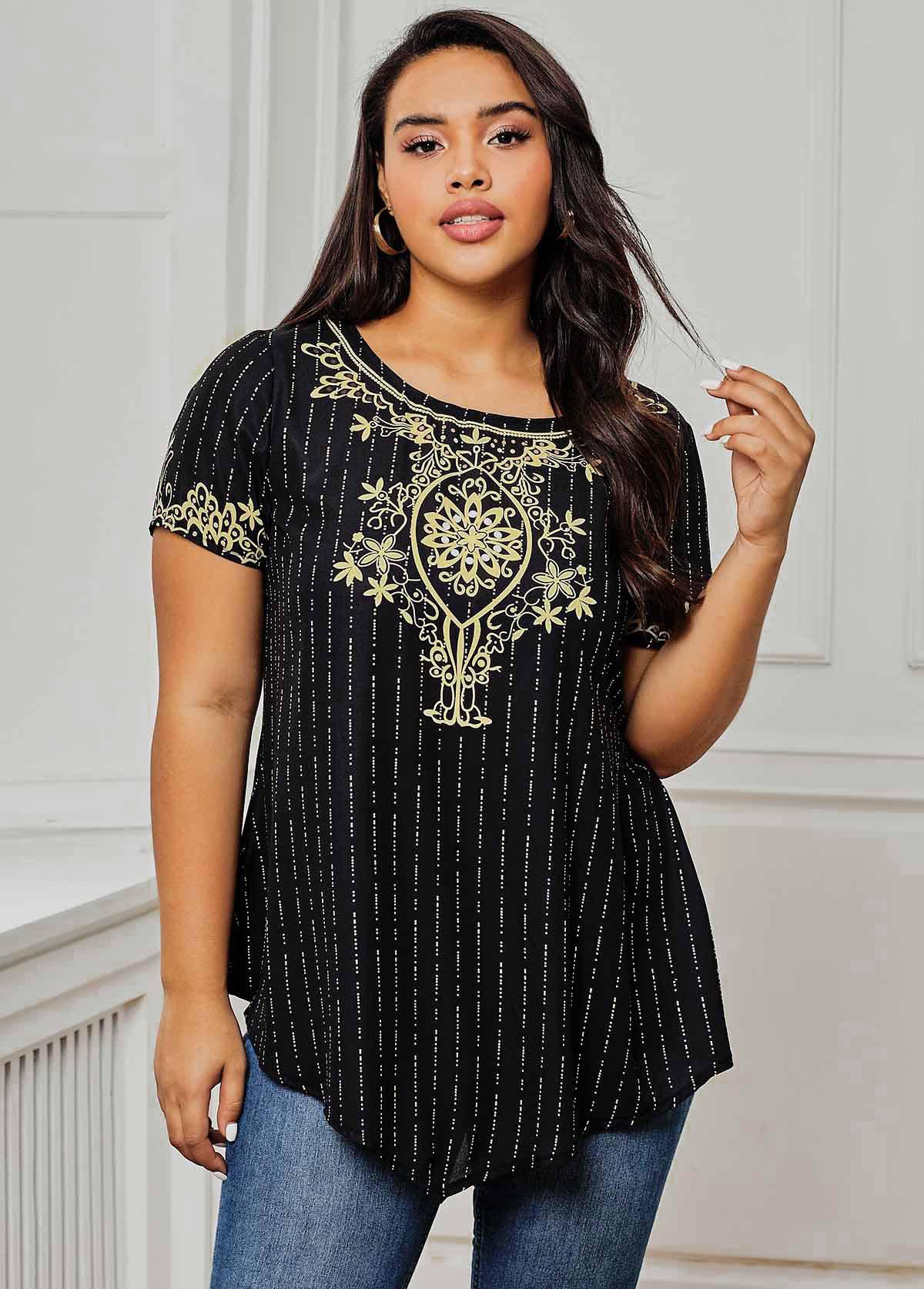 ROTITA Hanky Hem Tribal Print Round Neck Plus Size T Shirt