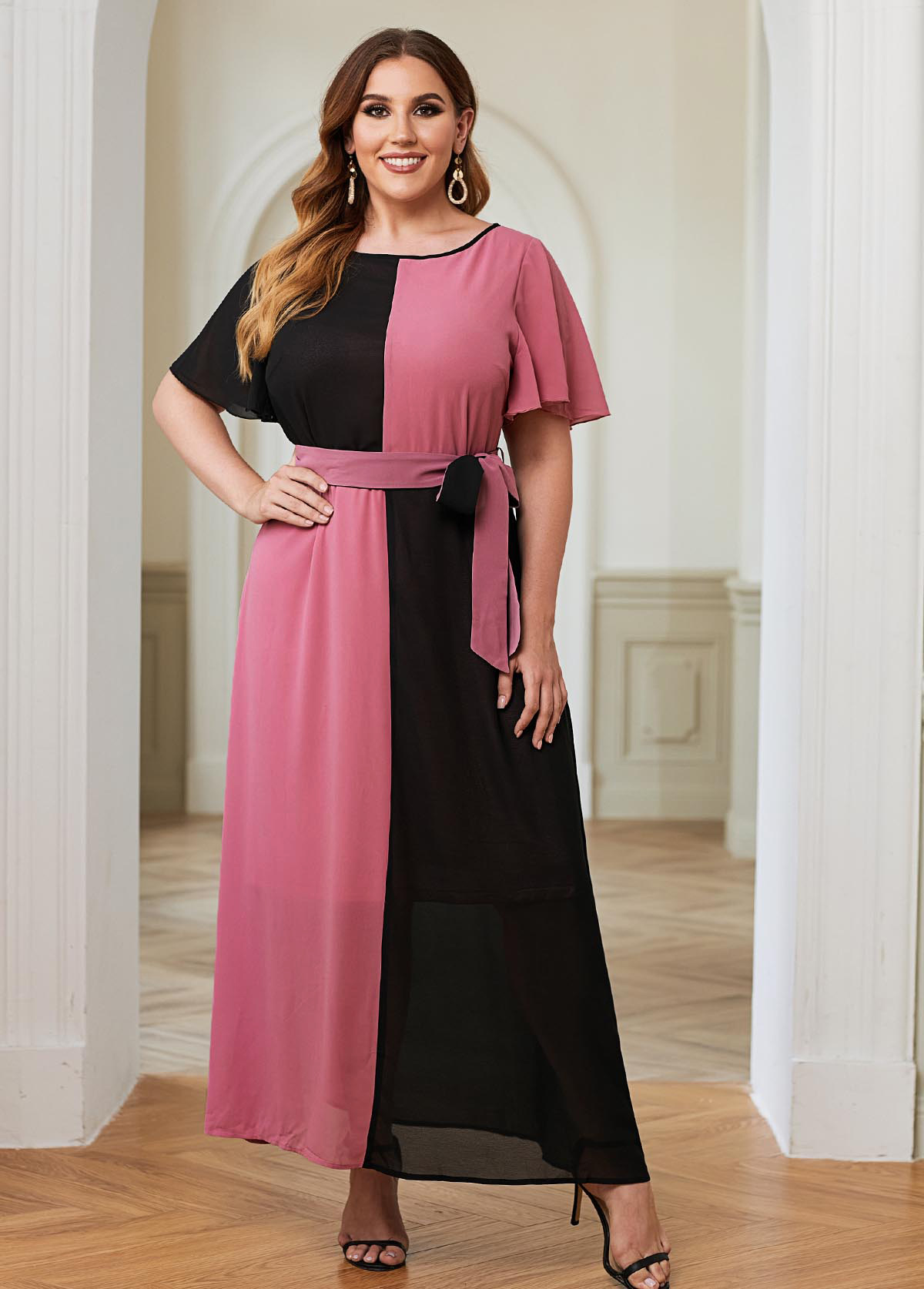 ROTITA Plus Size Belted Color Block Maxi Dress