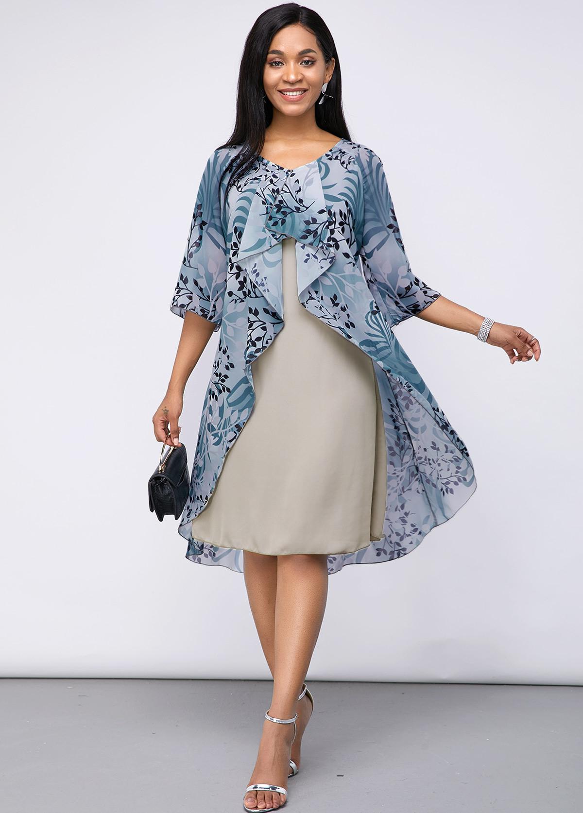 ROTITA Plant Print Faux Two Piece Chiffon Dress