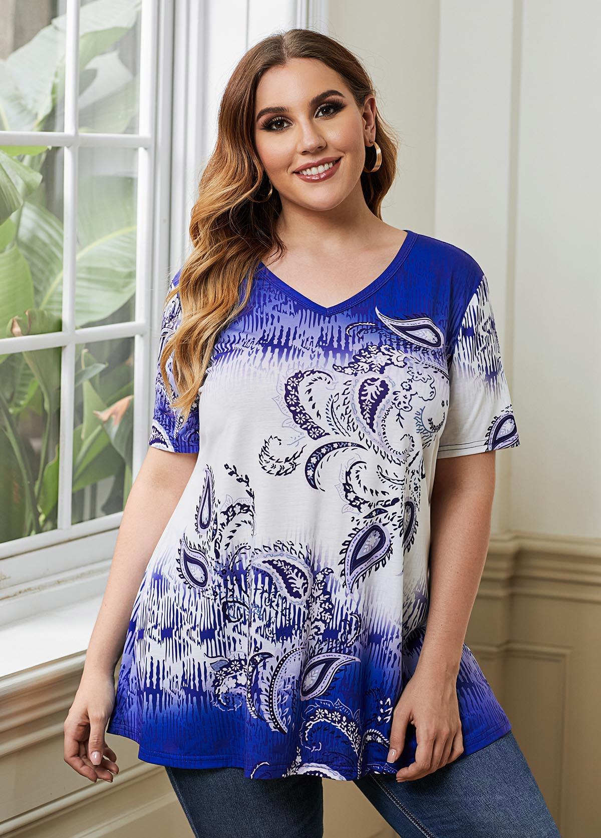 ROTITA Plus Size V Neck Paisley Print T Shirt