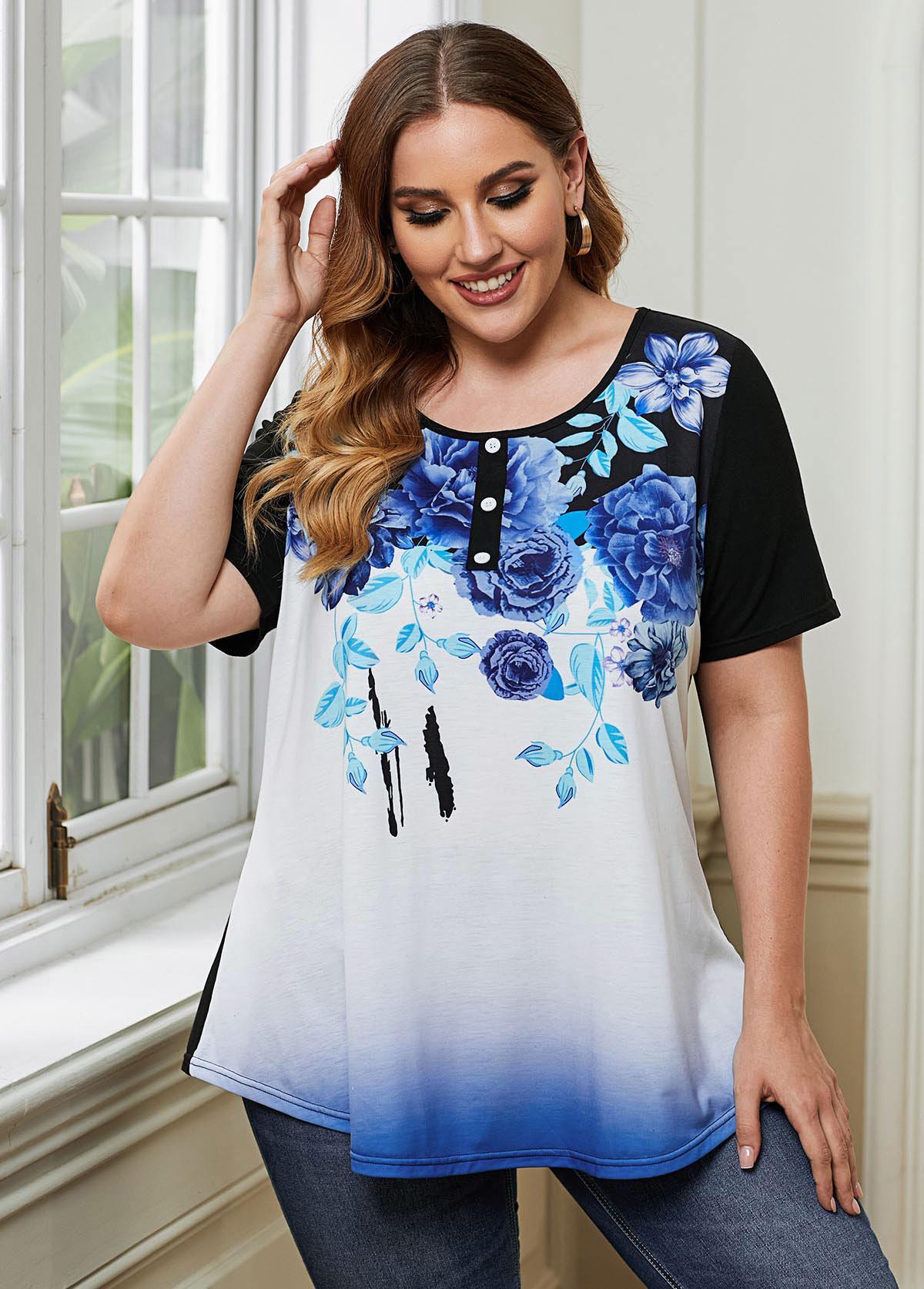 ROTITA Plus Size Button Detail Floral Print T Shirt