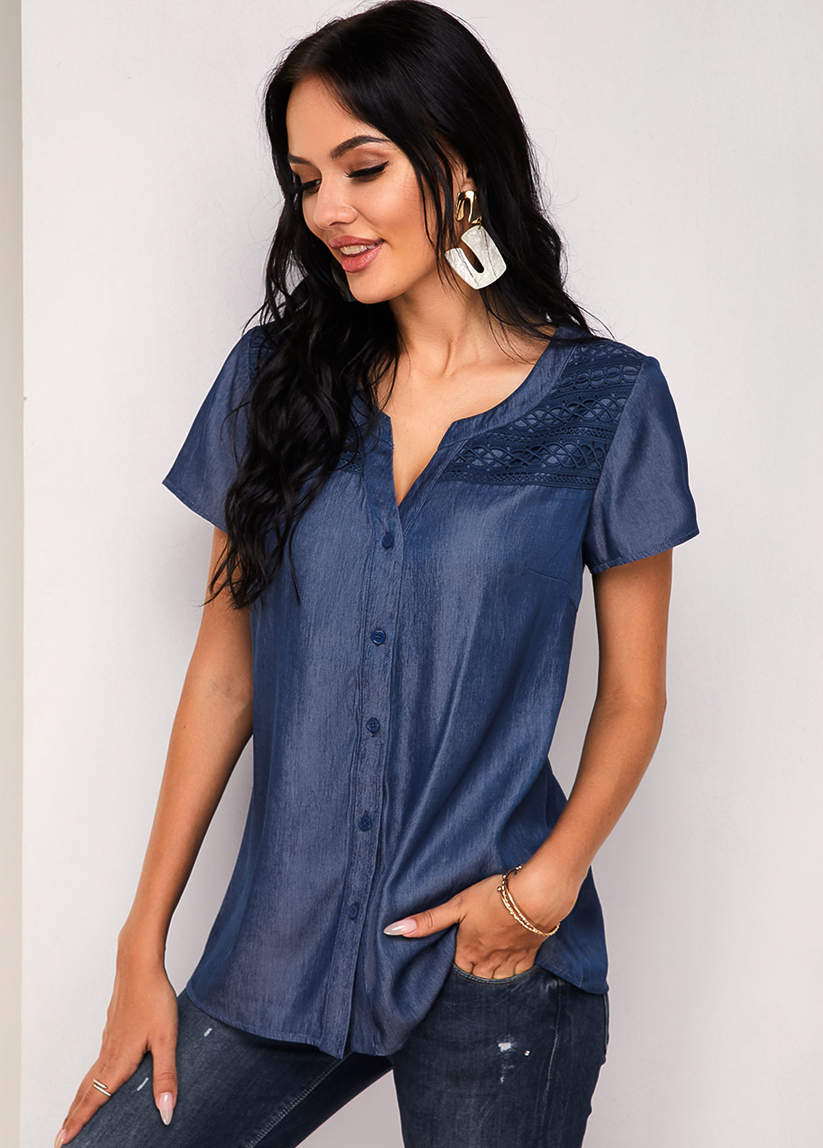 ROTITA Button Up Short Sleeve Lace Panel Blouse
