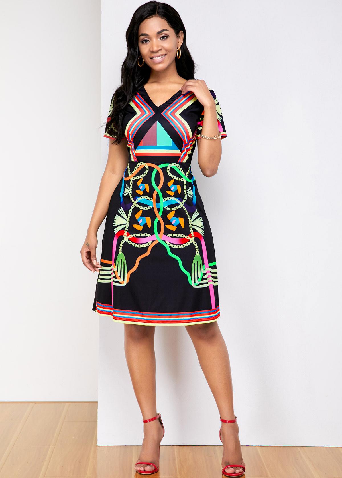 ROTITA Rainbow Stripe Short Sleeve V Neck Dress
