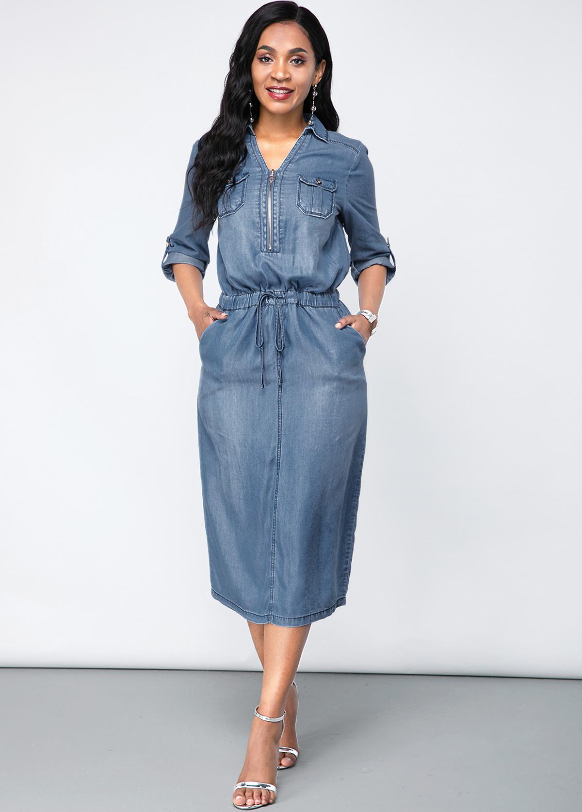 ROTITA Chest Pocket Turndown Collar Denim Dress