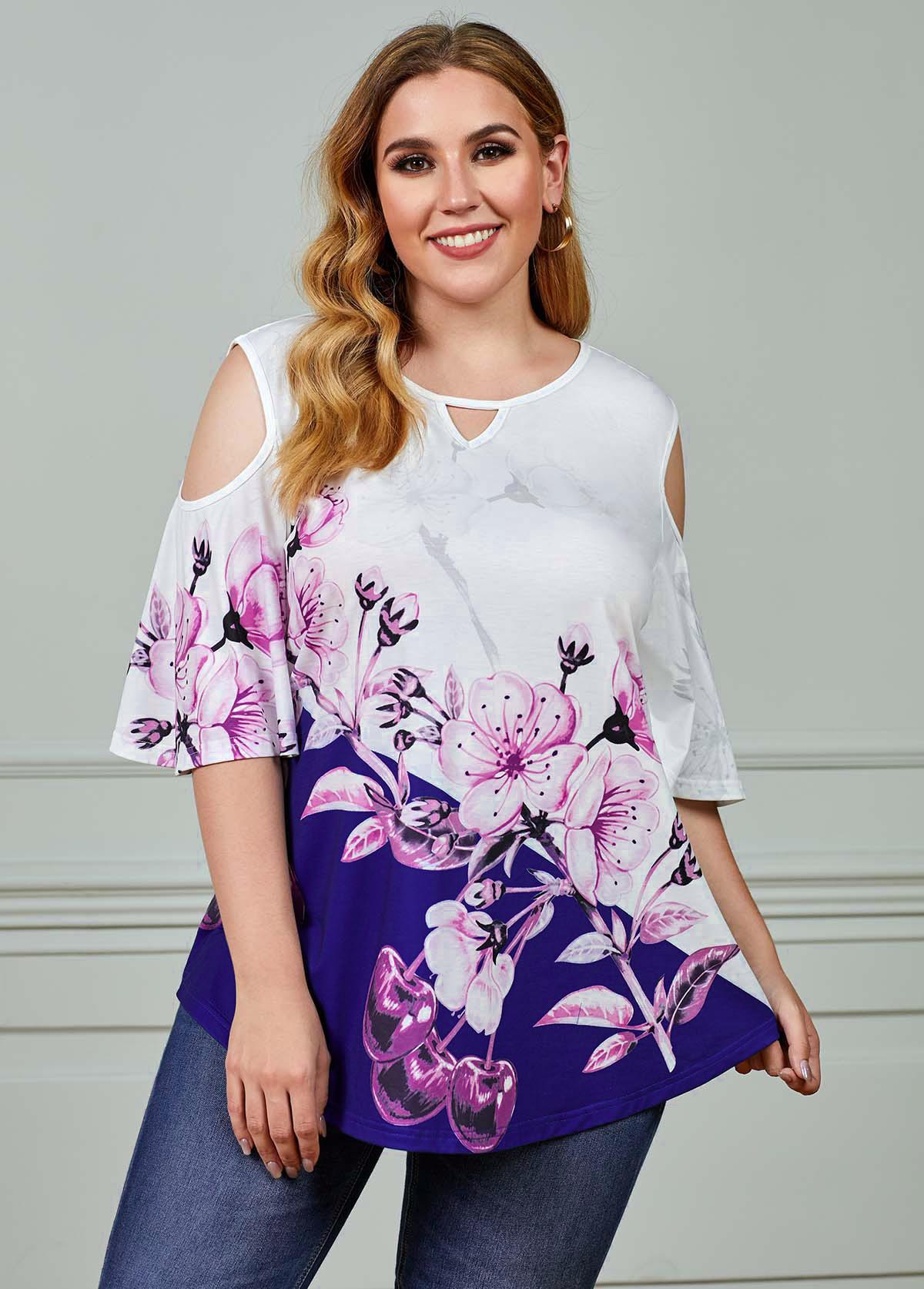ROTITA Plus Size Cold Shoulder Floral Print T Shirt