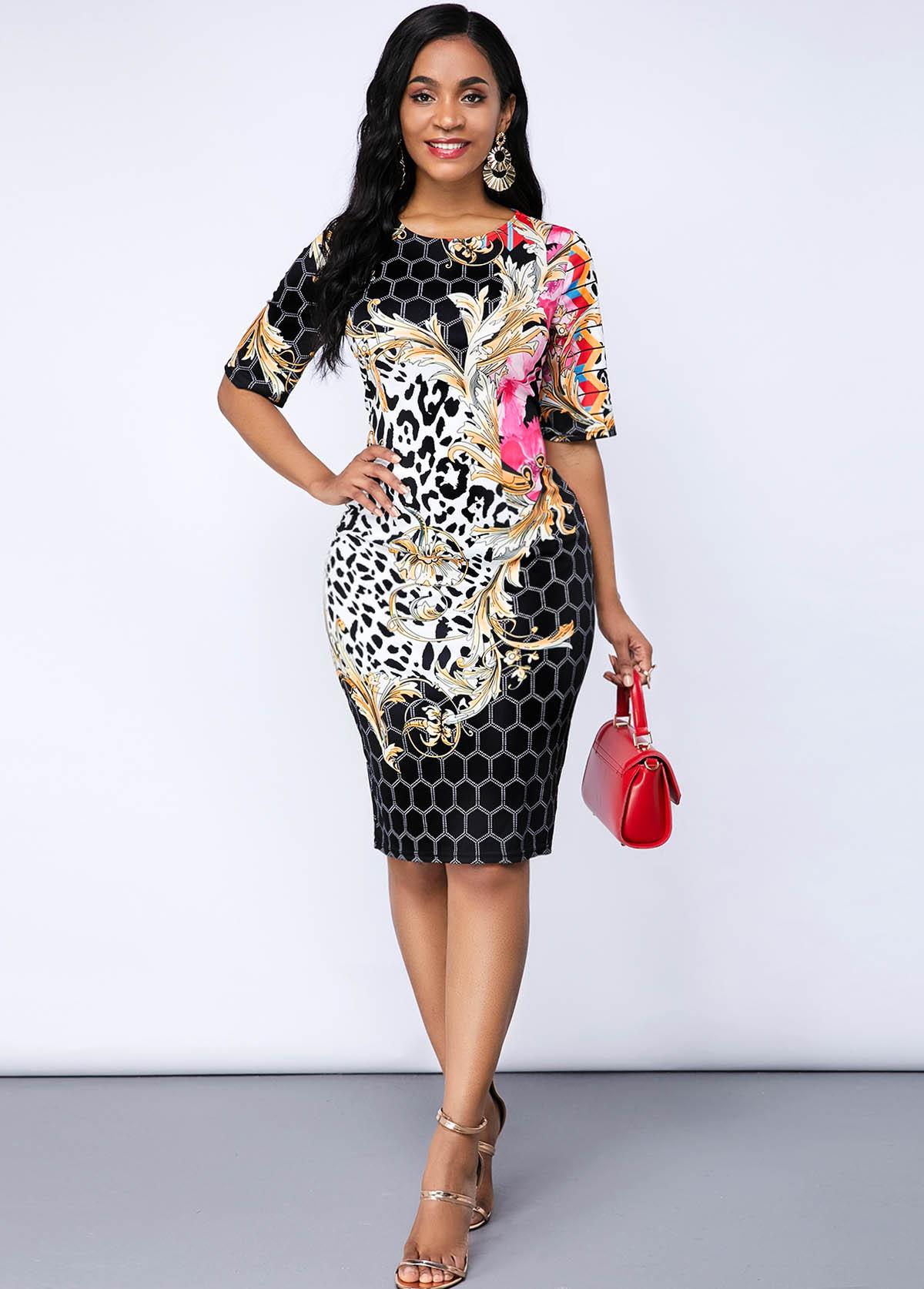 ROTITA Leopard and Geometric Print Half Sleeve Dress