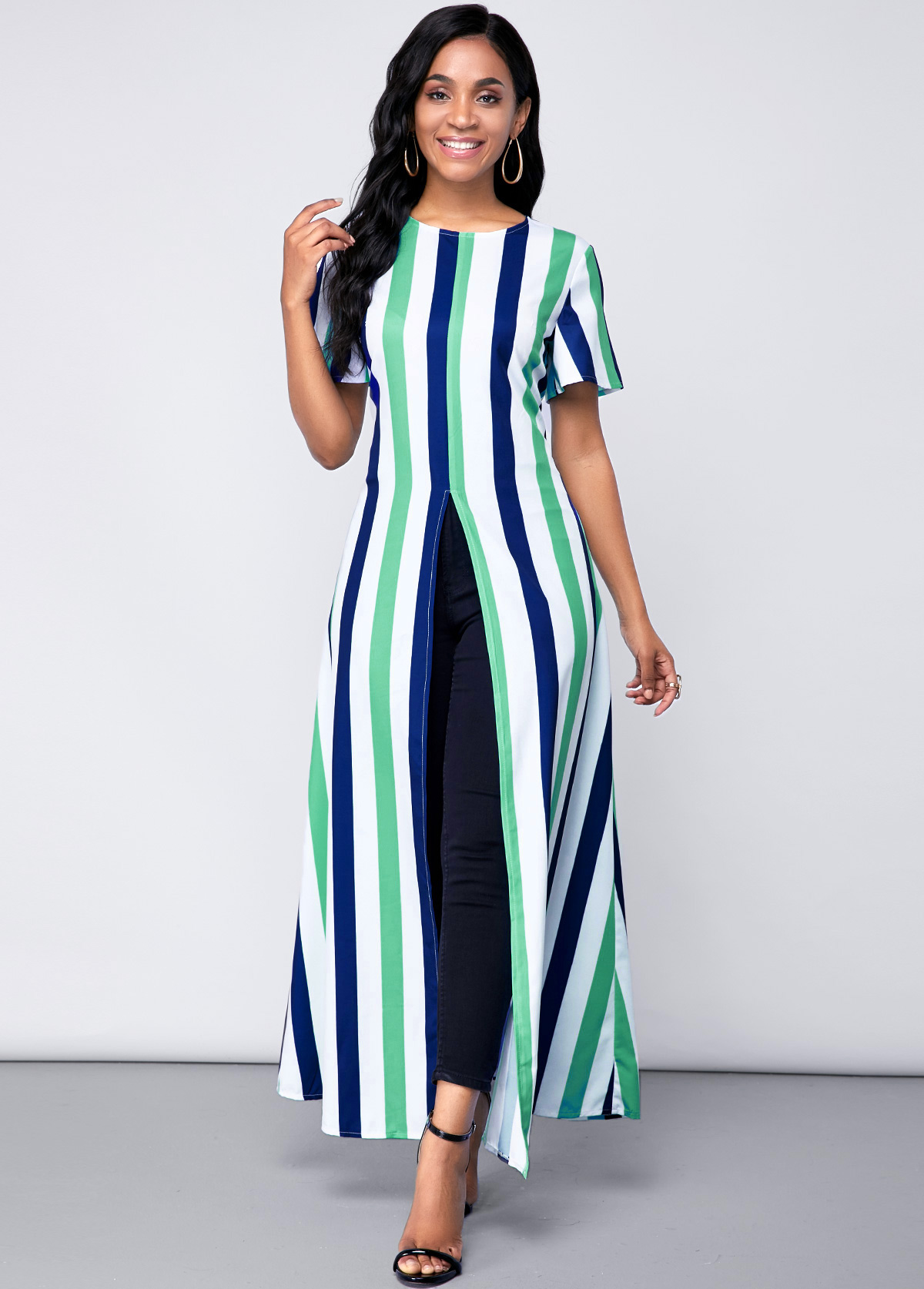 ROTITA Stripe Print Short Sleeve Front Slit Blouse