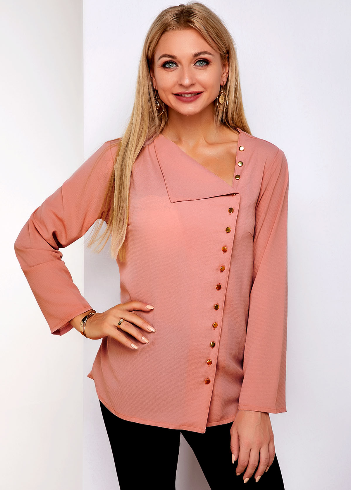 Oblique Collar Inclined Button Long Sleeve Blouse