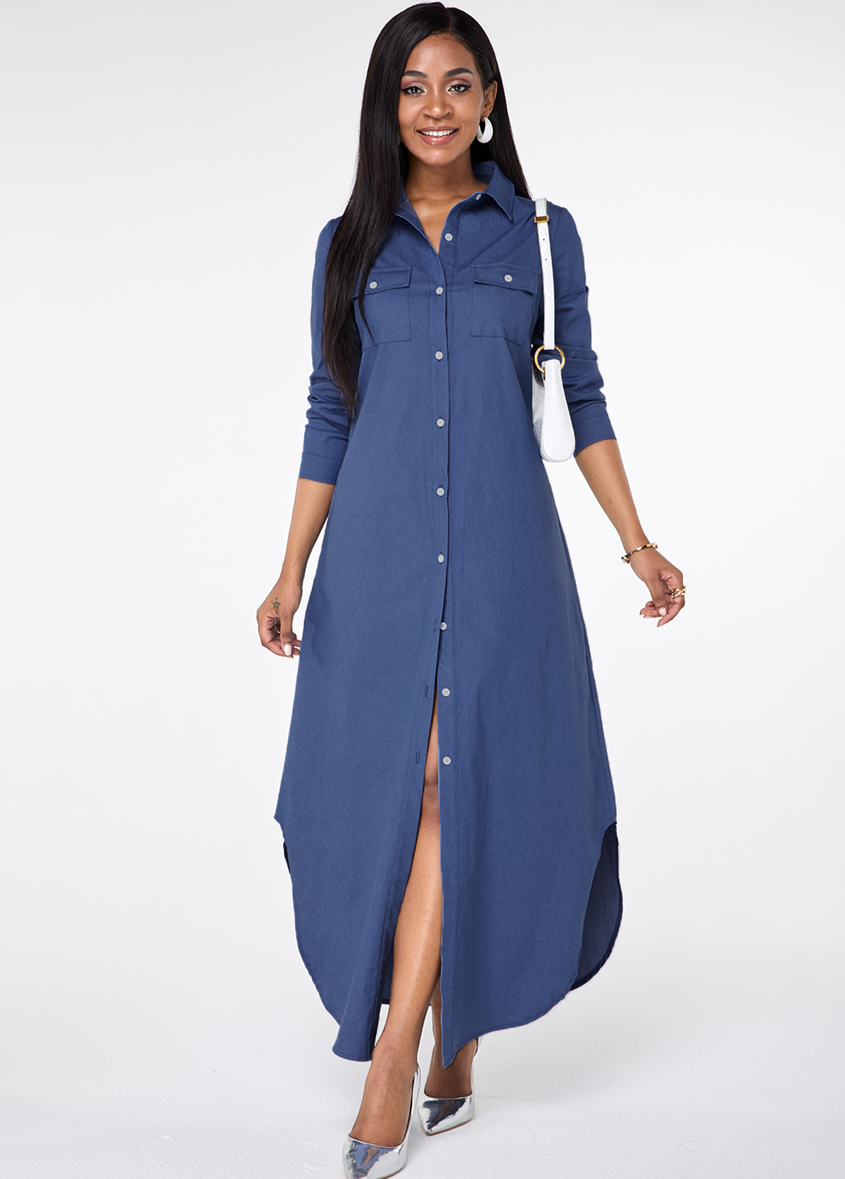 ROTITA Asymmetric Hem Button Up Pocket Maxi Dress