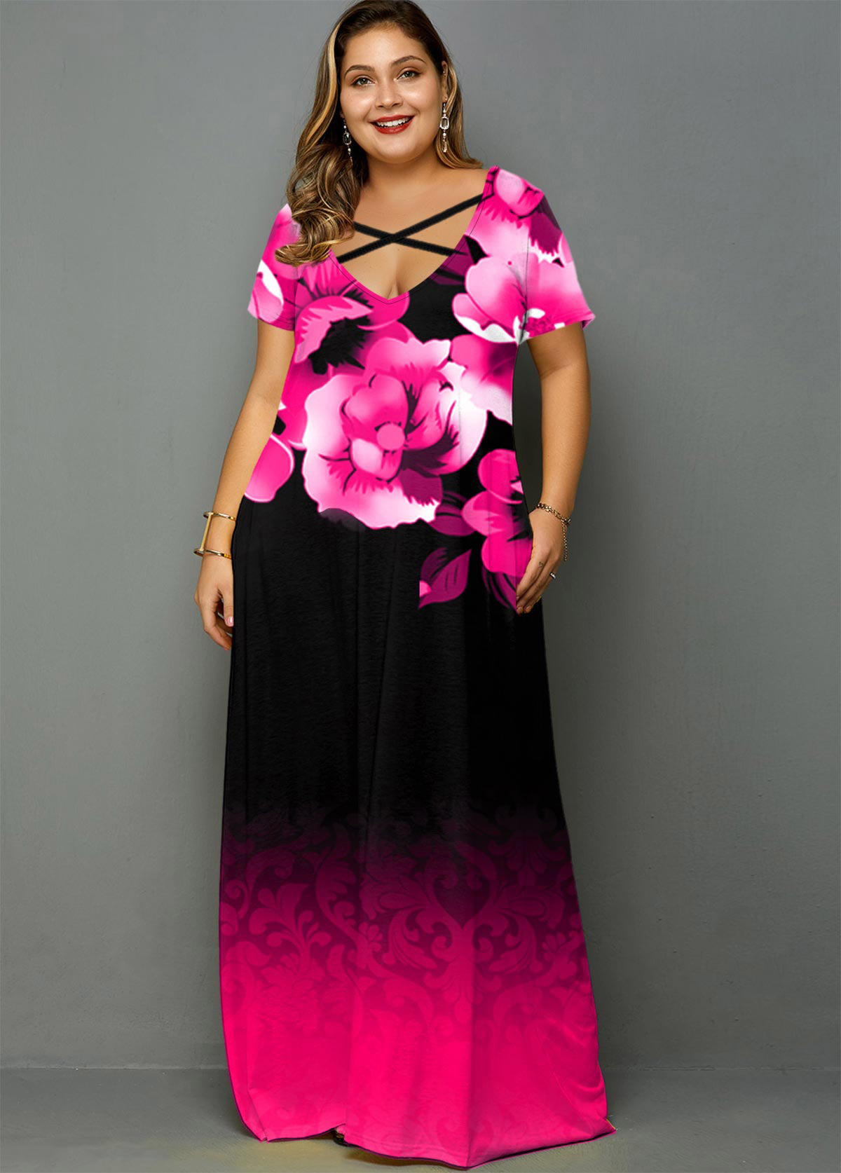 ROTITA Plus Size Gradient Floral Print Maxi Dress