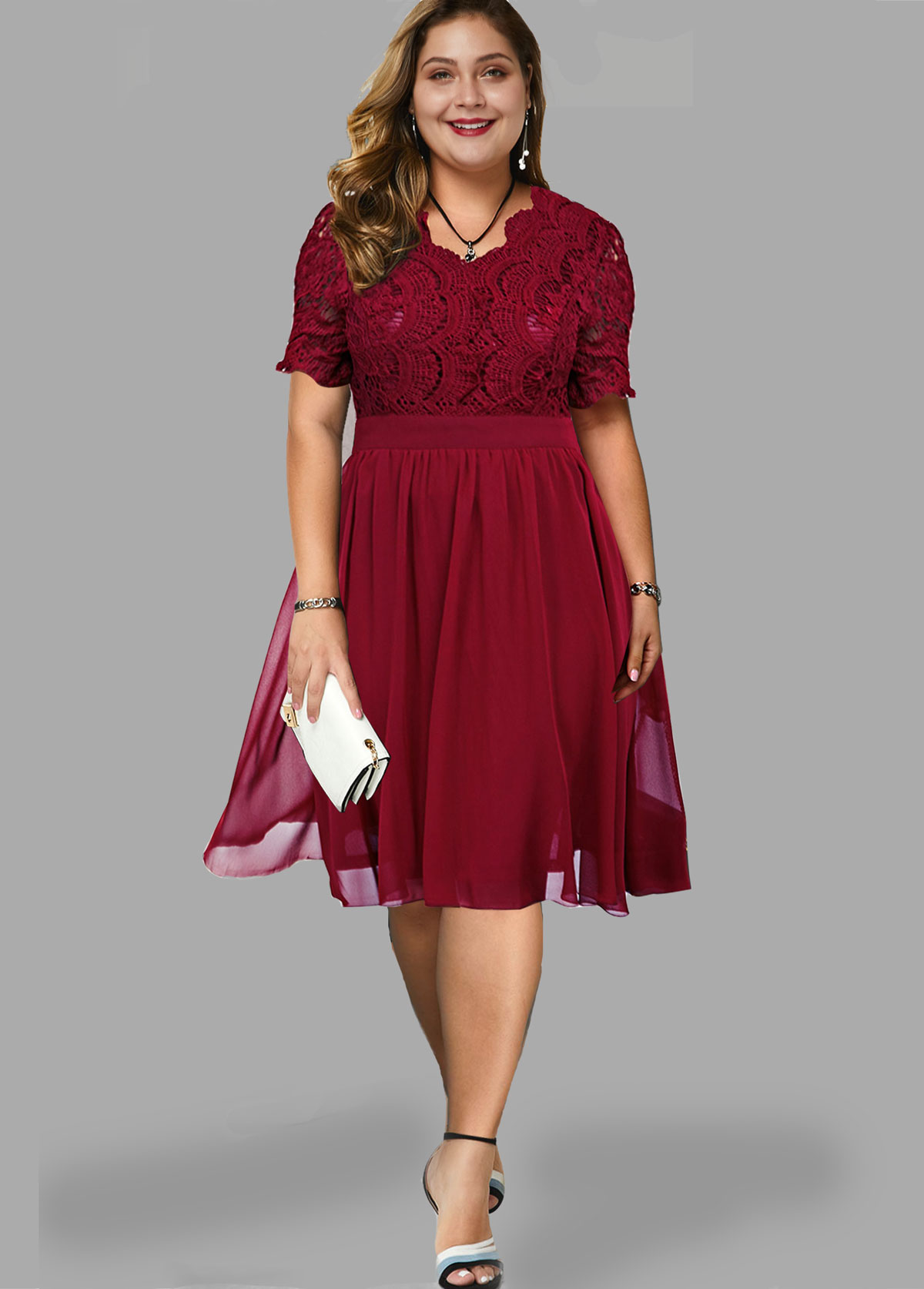 ROTITA Plus Size Short Sleeve Lace Panel Dress