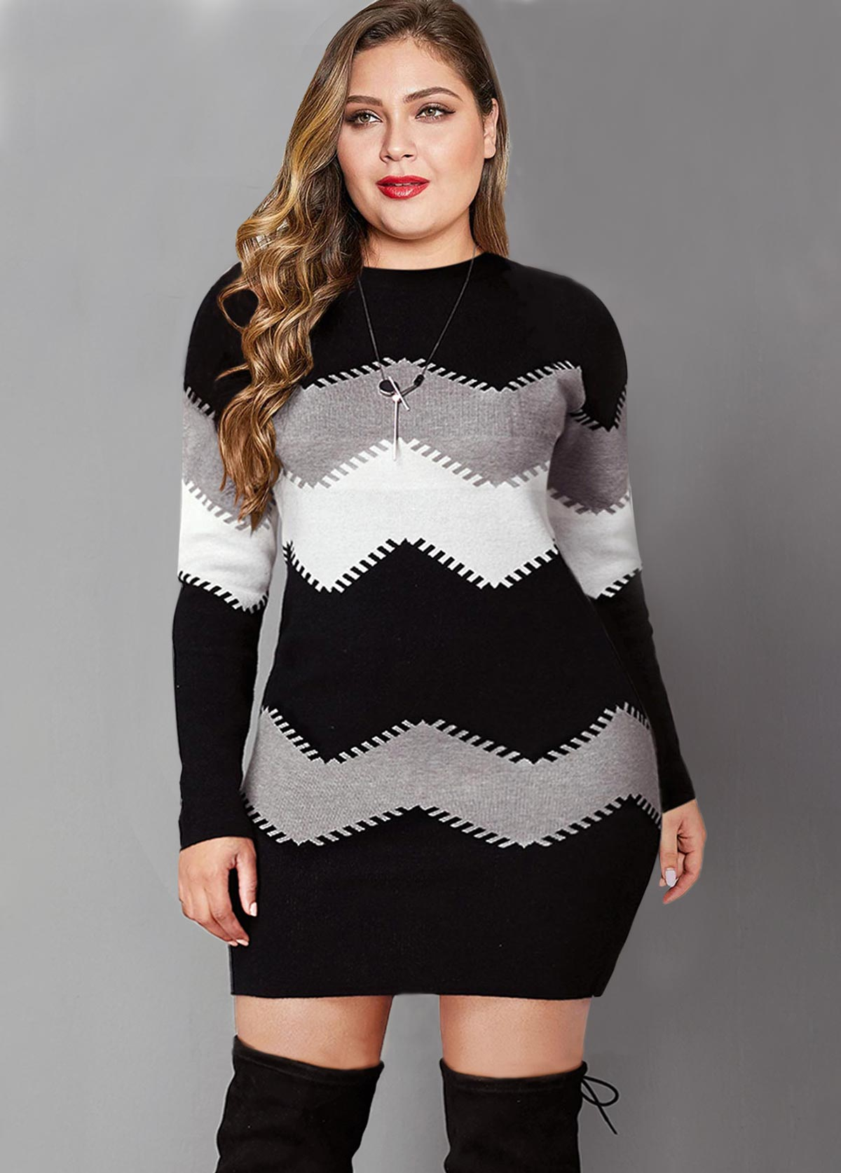 ROTITA Plus Size Long Sleeve Color Block Sweater Dress