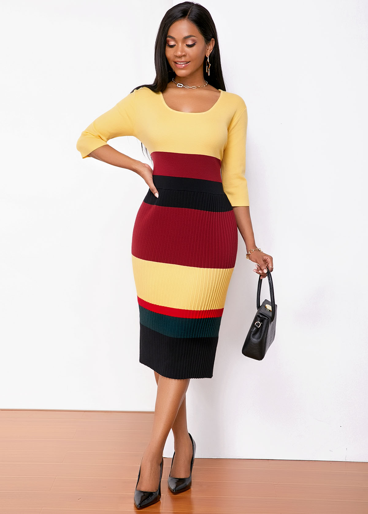 ROTITA Contrast Three Quarter Sleeve Sweater Dress