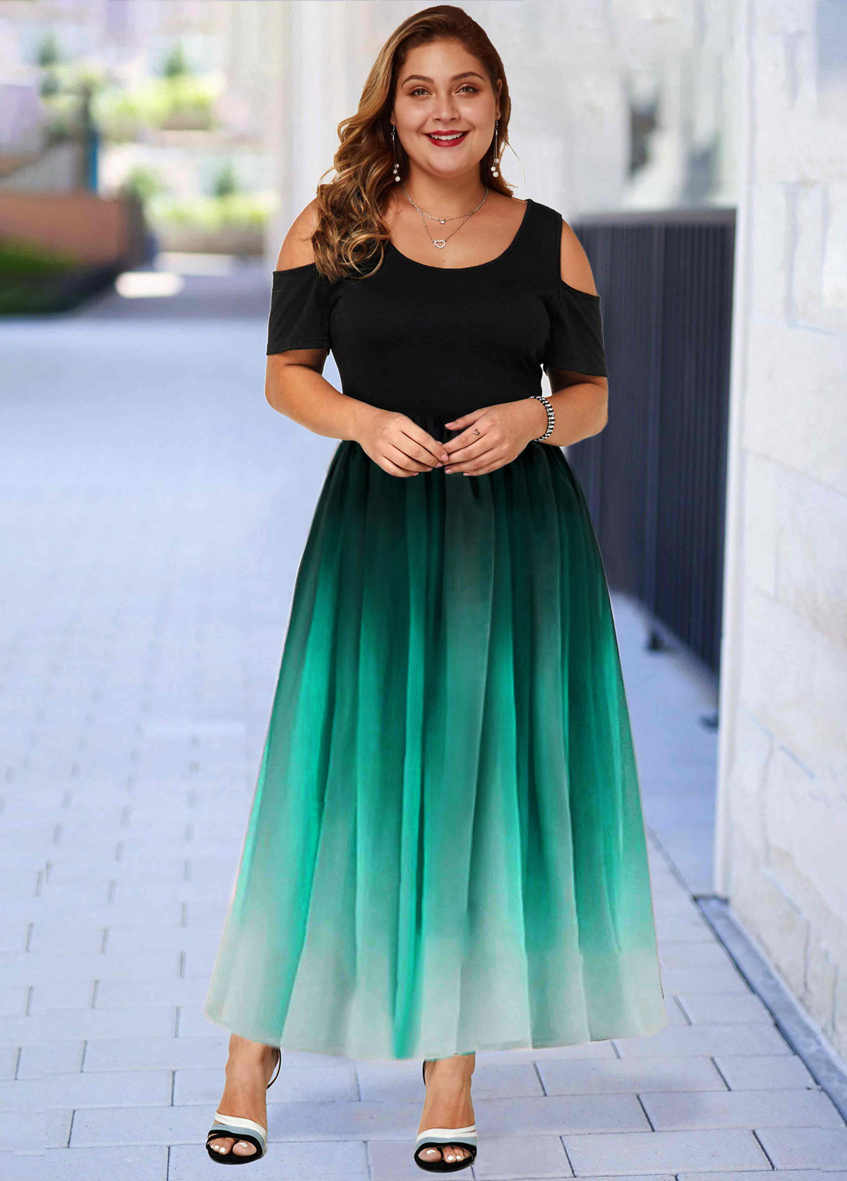 ROTITA Plus Size Ombre Cold Shoulder Maxi Dress
