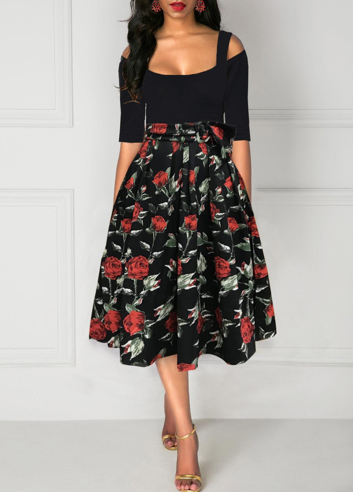 ROTITA Rose Print Cold Shoulder A Line Belted Dress