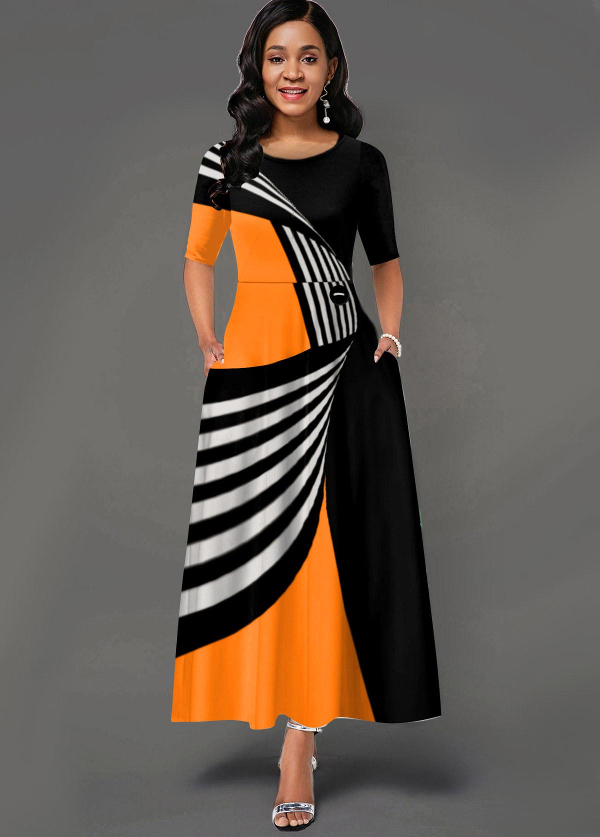 ROTITA Side Pocket Geometric Print Round Neck Maxi Dress