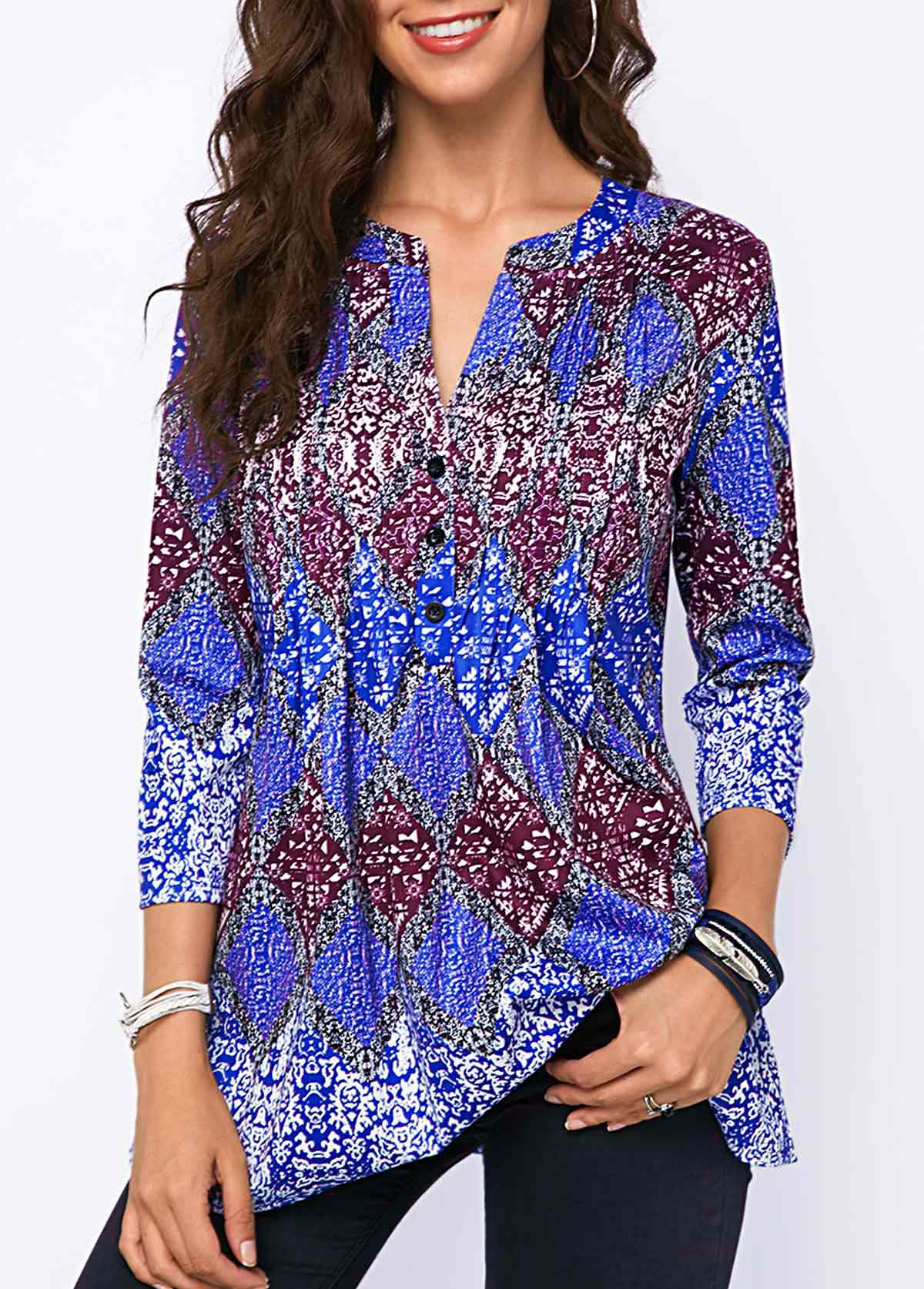 ROTITA Split Neck Crinkle Chest Printed Blouse
