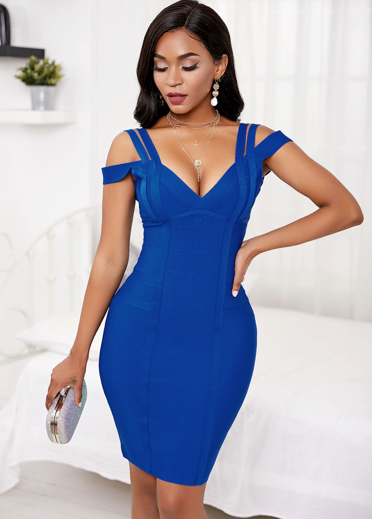 Strappy Shoulder Royal Blue Bandage Dress